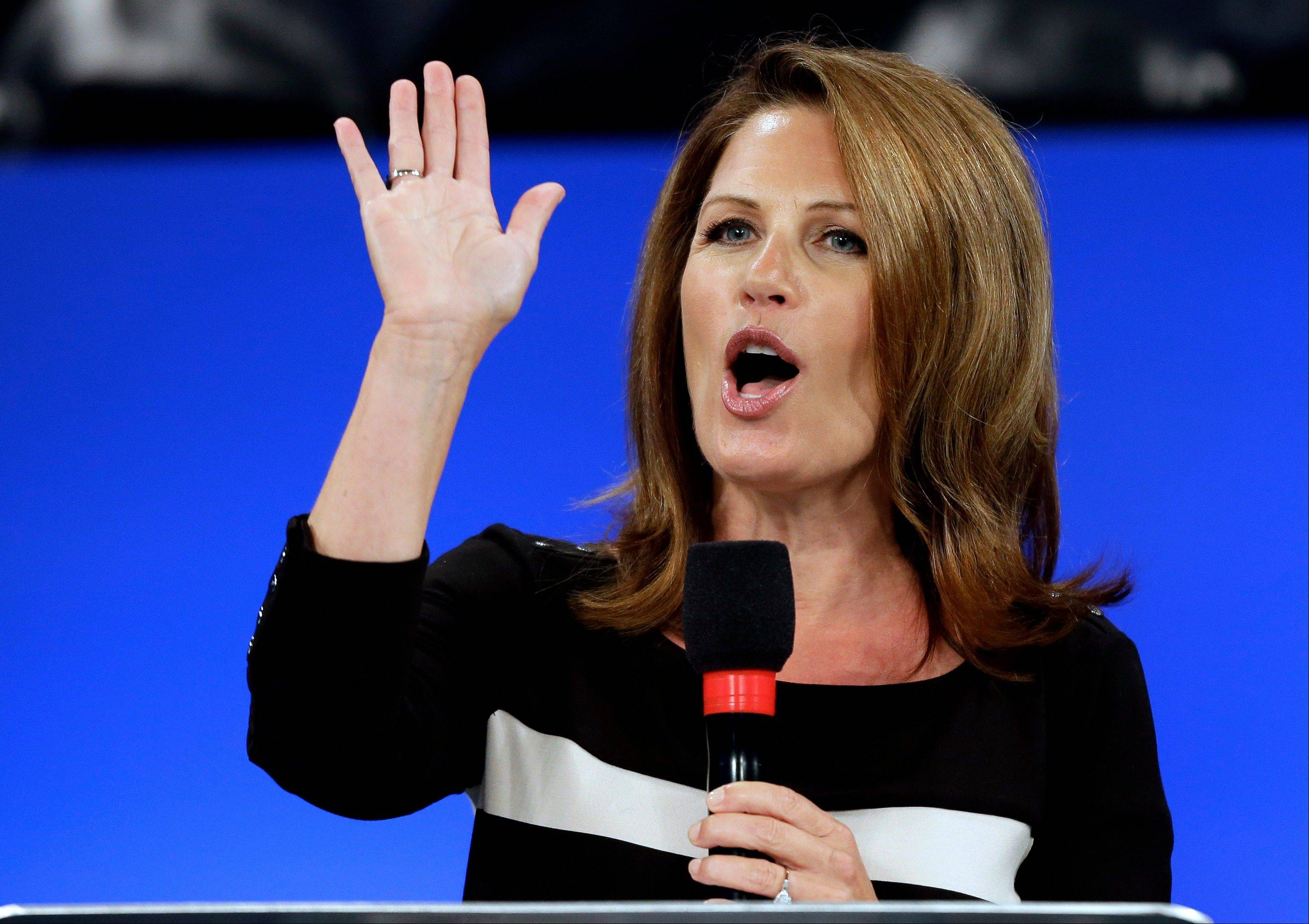 Former Republican presidential candidate, U.S. Rep Michele Bachman, R-Minn., speaks during a Unity Rally Sunday Aug. 26, 2012, in Tampa, Fla.