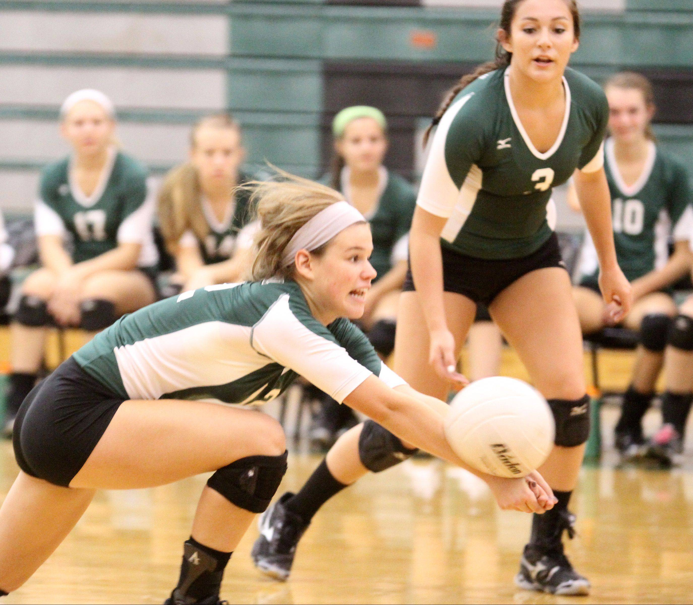 Grayslake Central�s Hannah Thomas is just able to get under this attack from Richmond-Burton at Grayslake Central on Saturday.