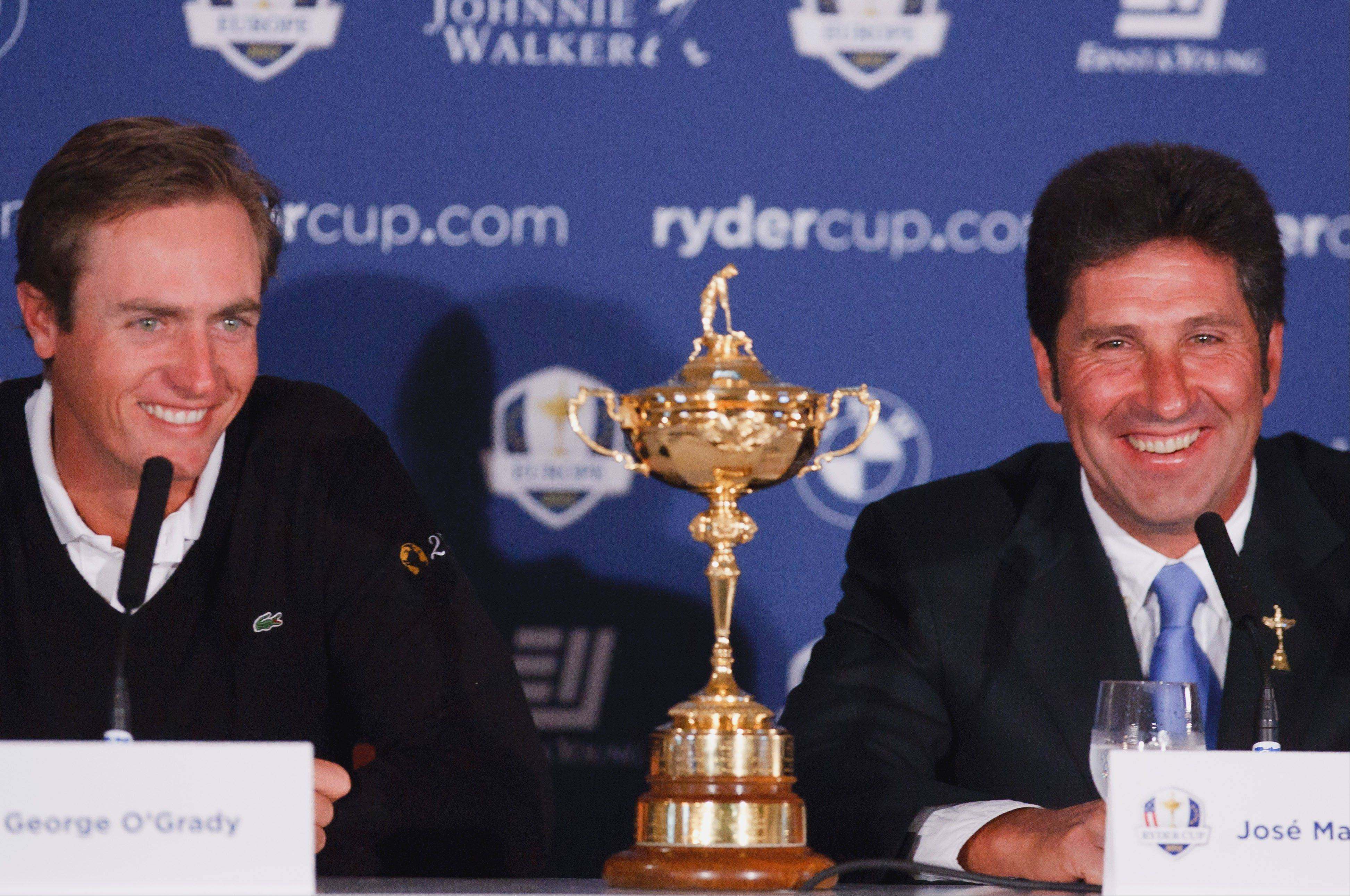 Nicolas Colsaerts, a European Ryder Cup wild-card selection, and team captain Jose Maria Olazabal discuss their team�s chances at a news conference in Gleneagles, England. Olazabal named England�s Ian Poulter and Belgium�s Colsaerts as his two wild-card picks on Monday.