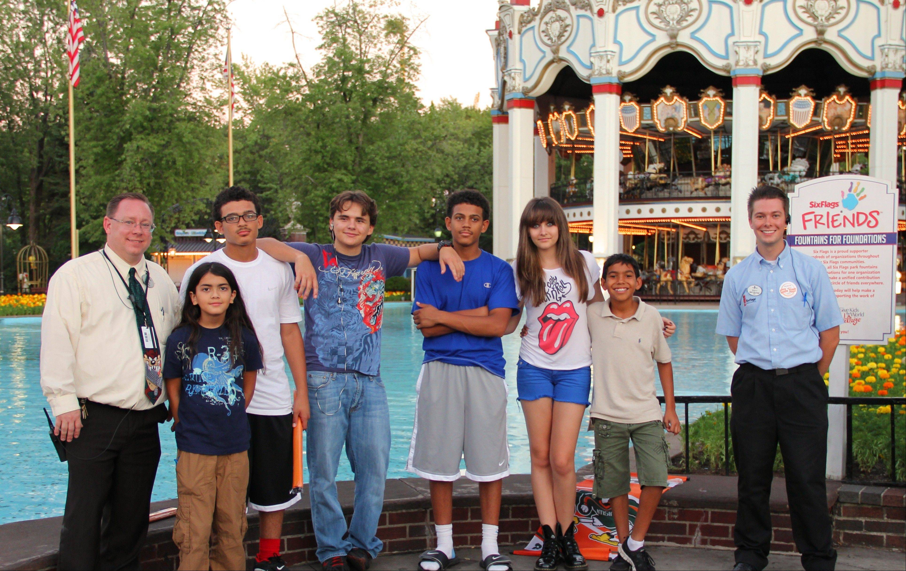 Michael Jackson's children -- Blanket, 10, second from left; Prince, 15, fourth from left; and Paris, 14, third from right -- visited Six Flags Great America in Gurnee on Monday.