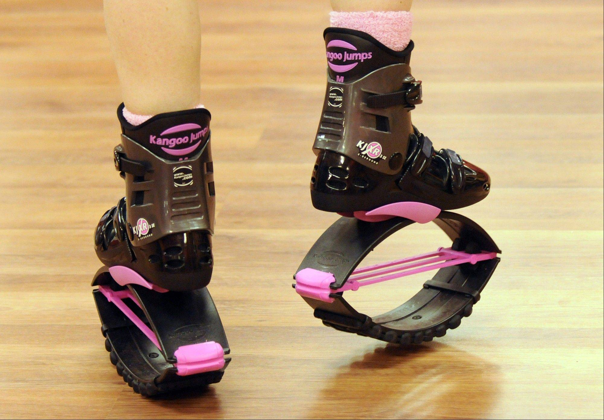 Fitness expert Mario Godiva Green demonstrates Kangoo Jumps, a new exercise routine that uses special boots.