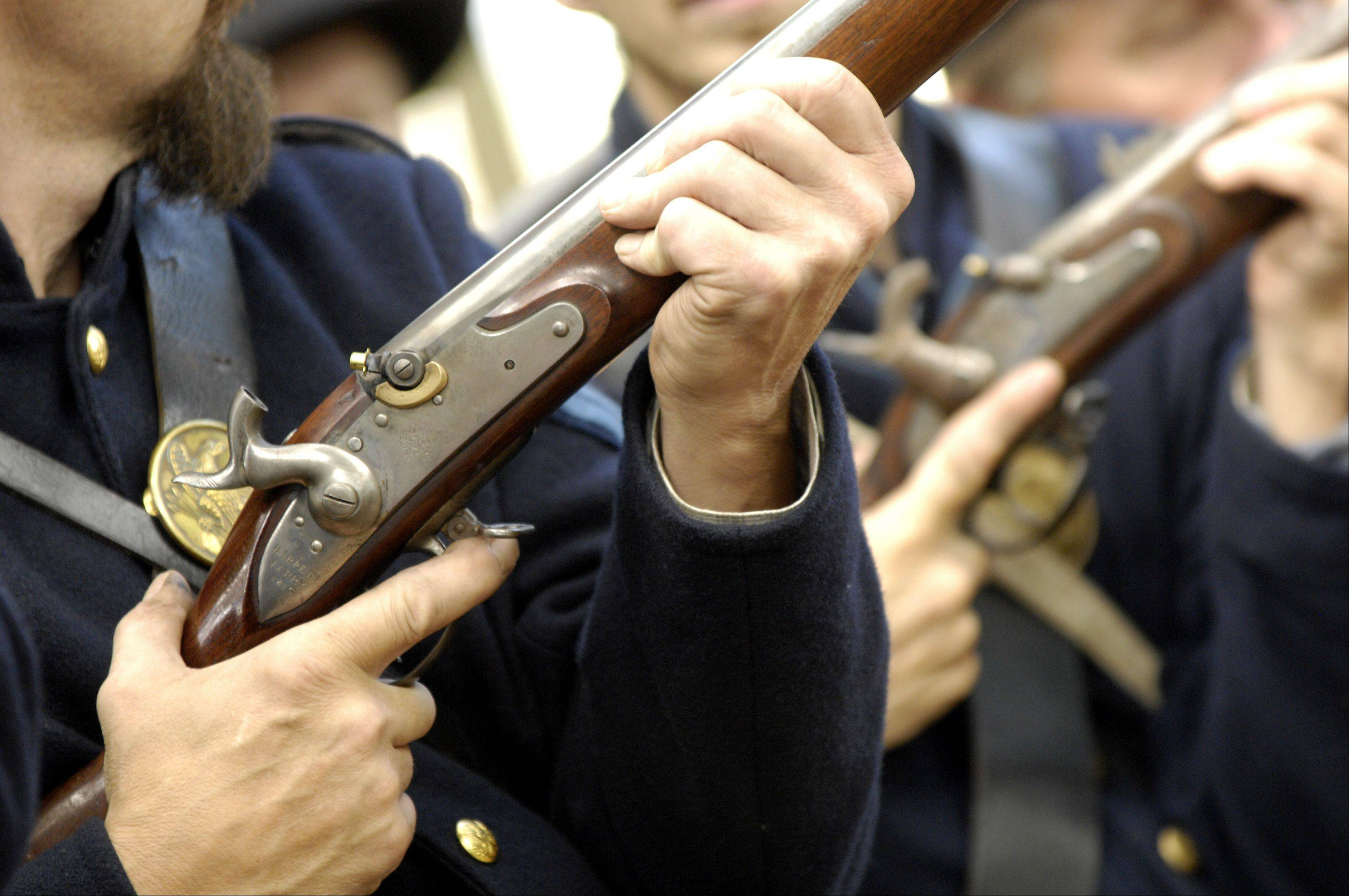 "Leslie Goddard, executive director at Graue Mill and Museum, said the re-enactors of the 10th Illinois Regiment are committed to remaining authentic and really know their stuff. ""A lot of them can tell you what's authentic about the collar around their neck to the shoes on their feet,"" she said."