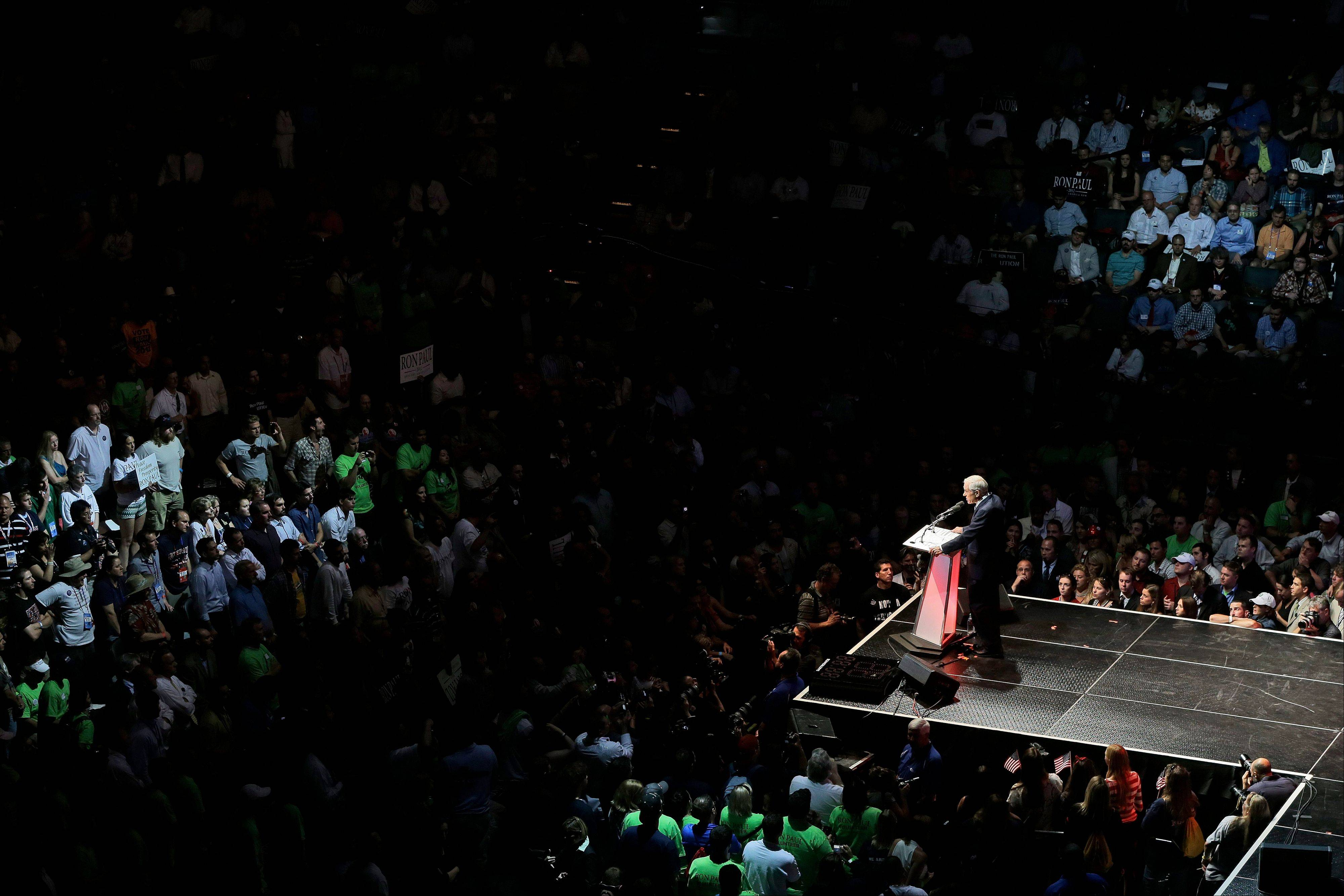 Rep. Ron Paul, R-Texas, speaks at a rally at the University of South Florida Sun Dome on the sidelines of the Republican National Convention in Tampa, Fla., on Sunday, Aug. 26, 2012.