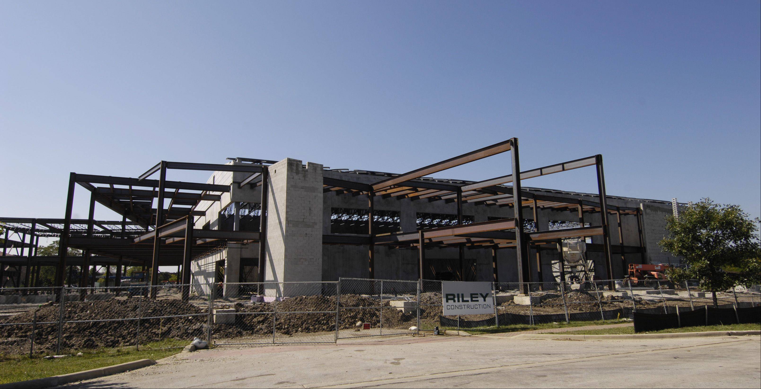 Construction continues Monday at the site of the new $18 million Carol Stream recreation center, where Gov. Pat Quinn signed a bill allowing the park district to fully realize all $37 million in referendum dollars approved by voters in 2010.