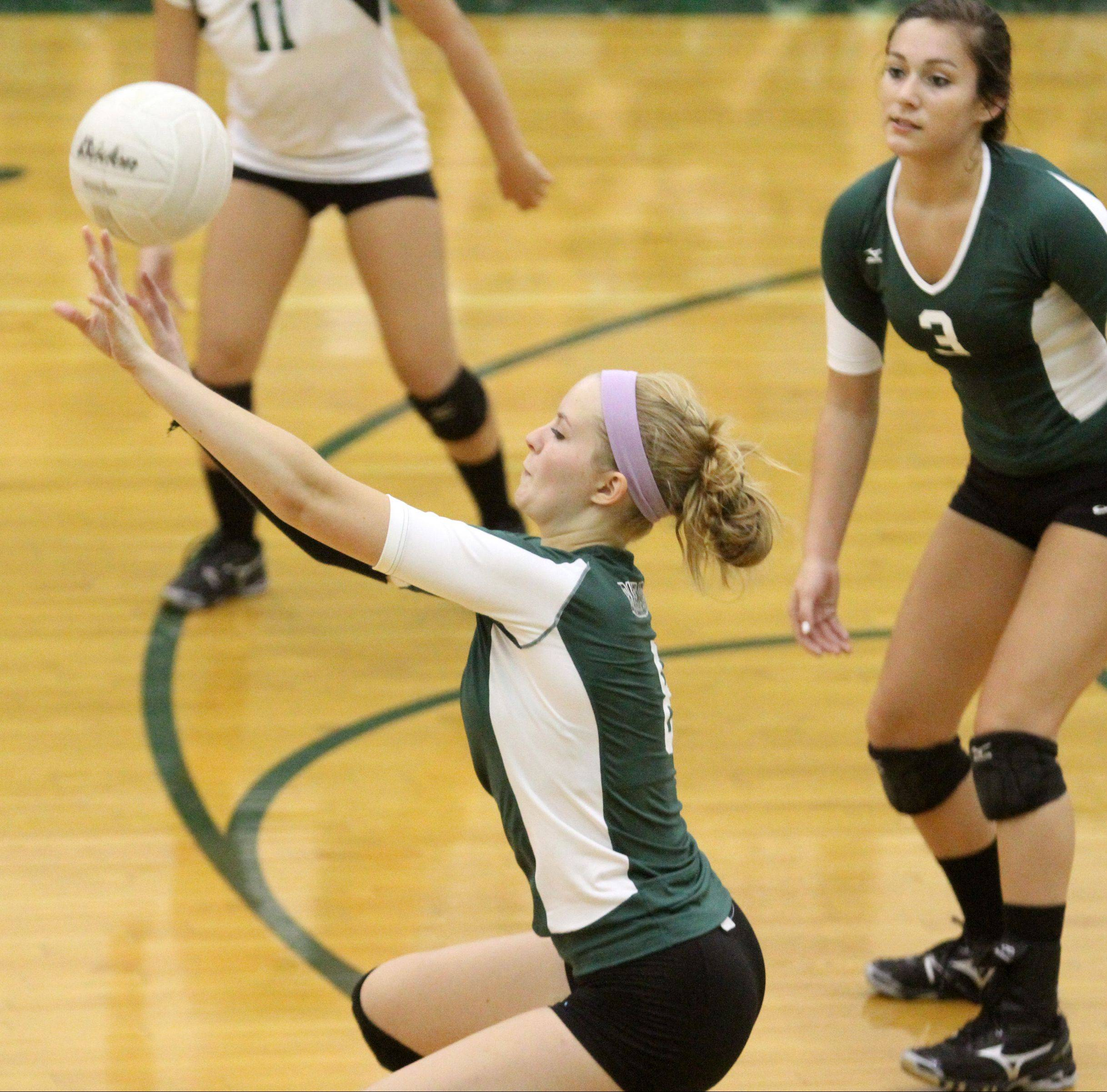 Grayslake Central's Alexandria Dahlstrom tips the ball up against Richmond-Burton at Grayslake Central on Saturday.