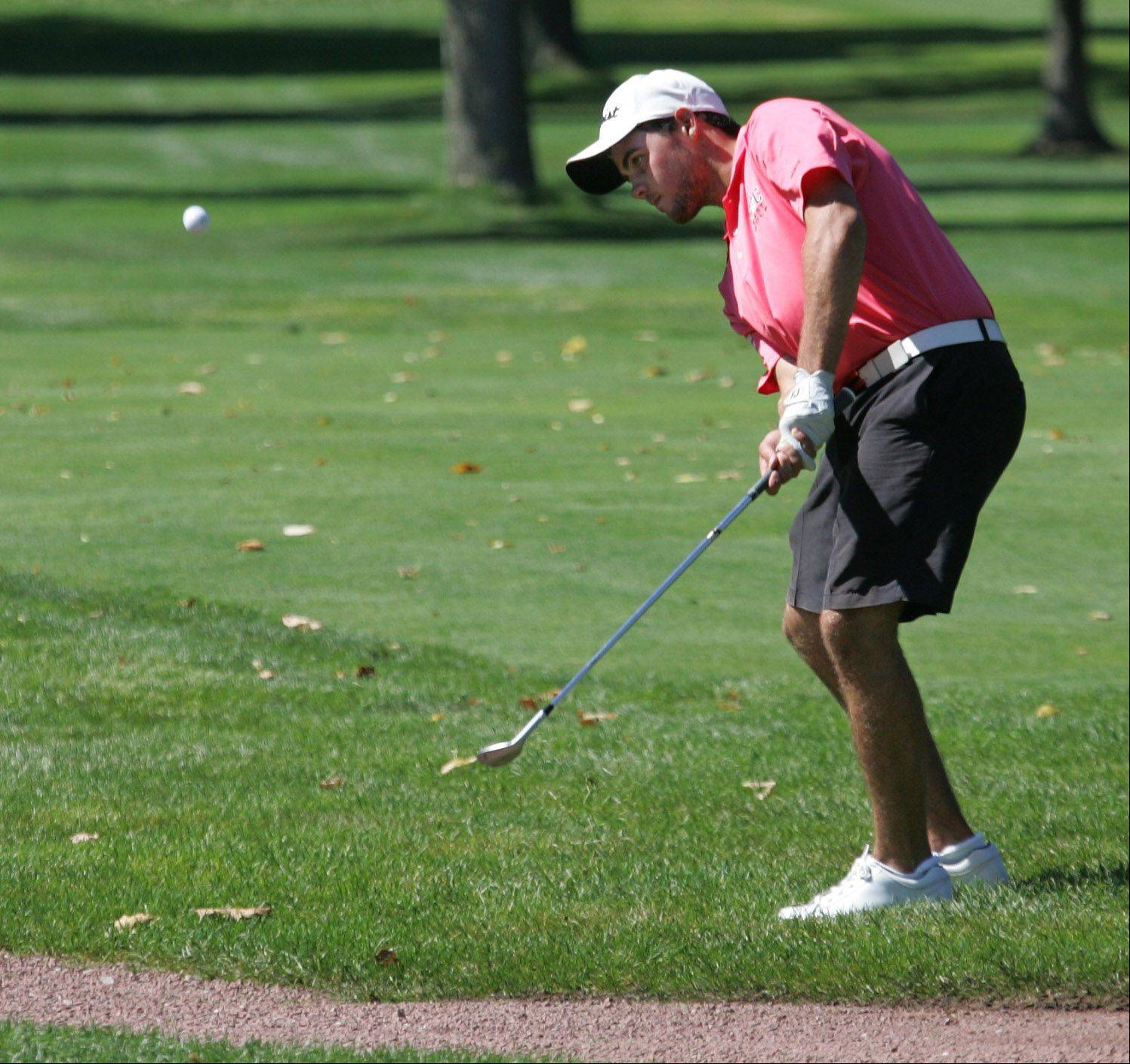 St. Viator's Luke DeTrempe tees off on the second hole during invitational play at Biltmore Country Club on Monday.