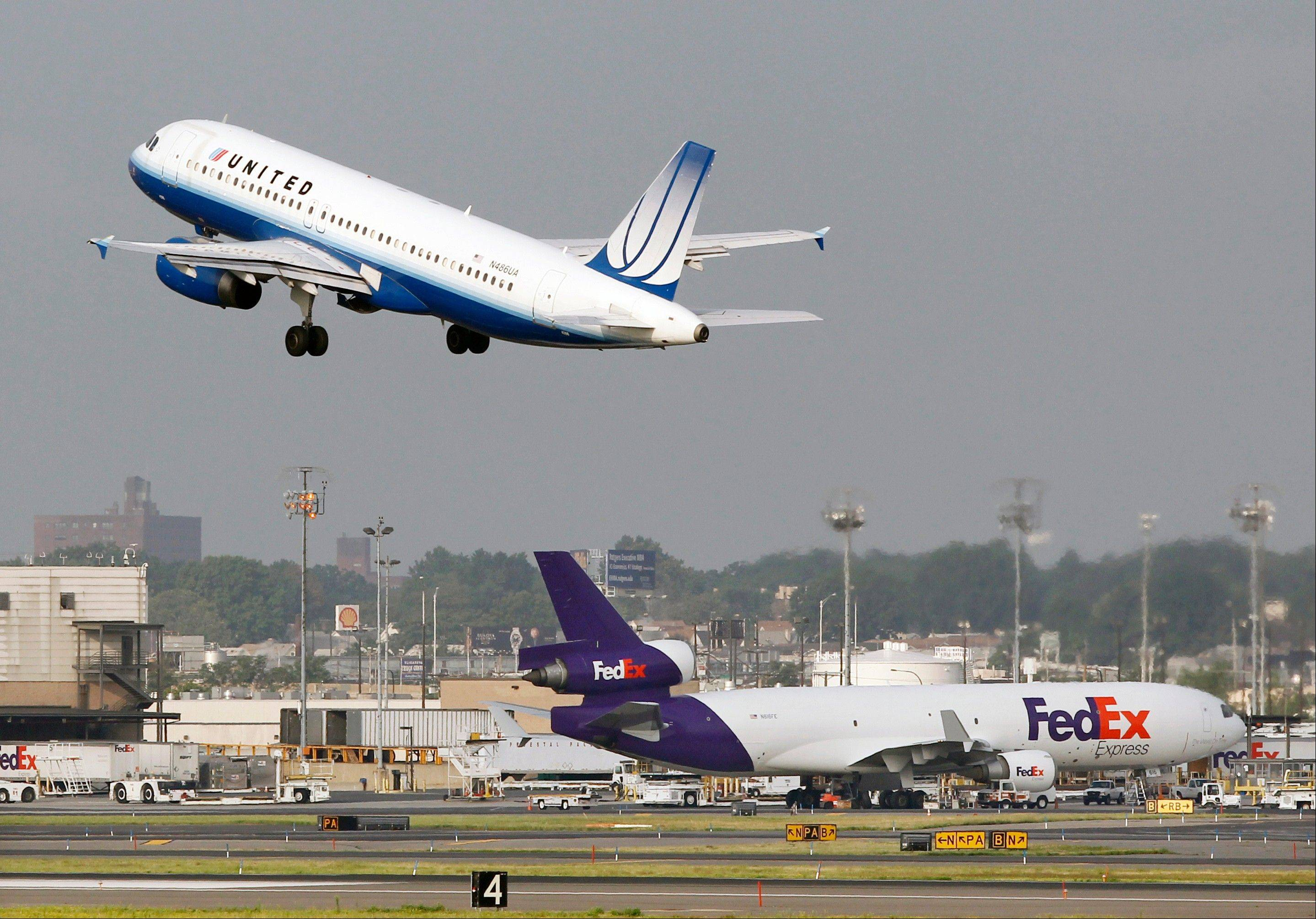 A United Airbus A320 passenger plane takes off at Newark Liberty International airport.