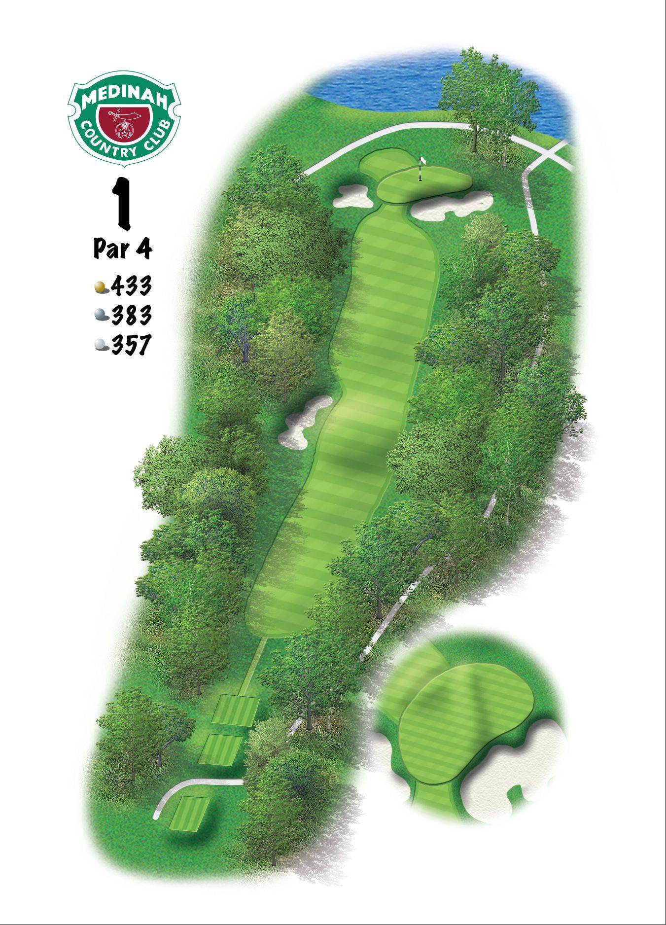 Hole 1 of the Ryder Cup course at Medinah. 433 yards/387 meters, Par-4, The green has a slight pitch, from back-to-front. The toughest hole placement is back-right, with only 18 feet of green behind the front-right bunker. It's an easy opening hole, compared to the rest of the course, and can give a player a false sense of security.