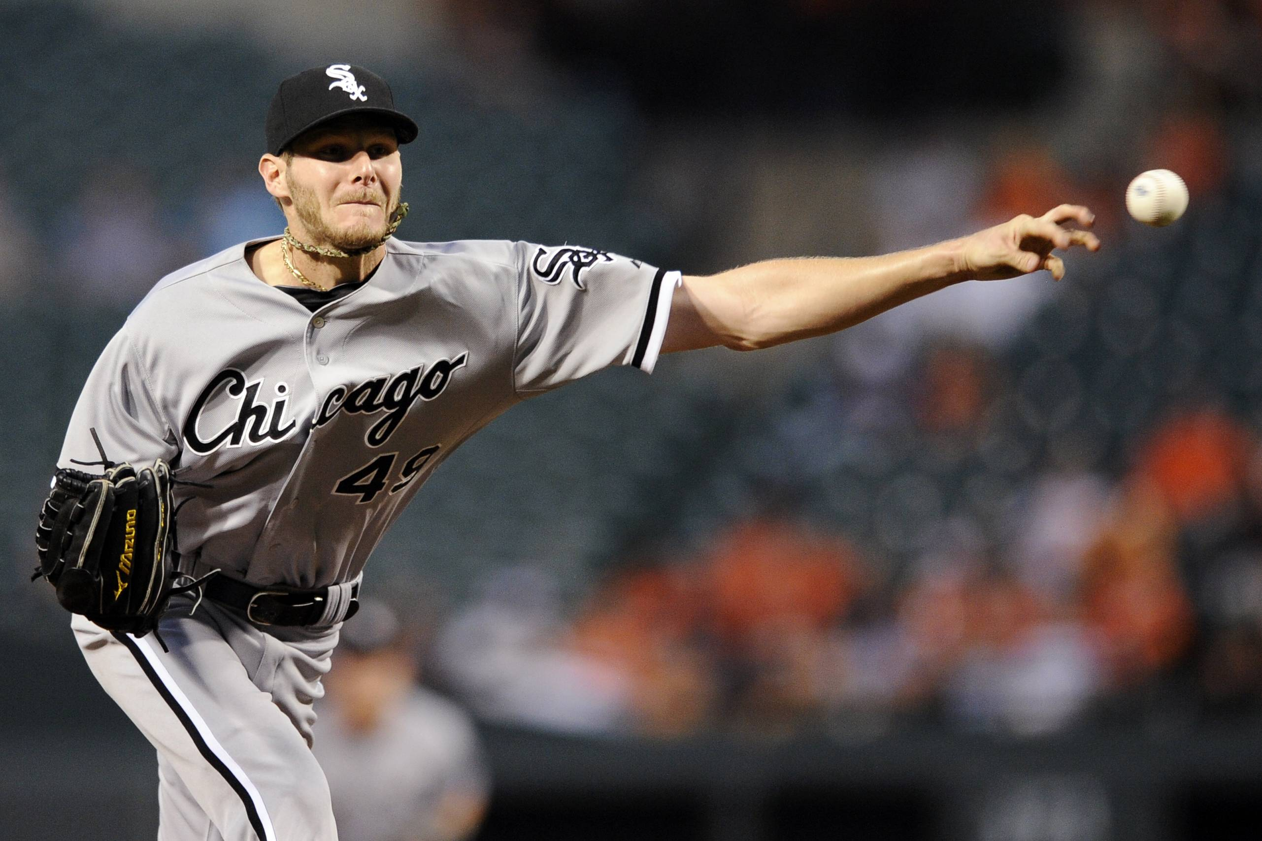White Sox starting pitcher Chris Sale delivers against the Baltimore Orioles Tiesday during the second inning in Baltimore.