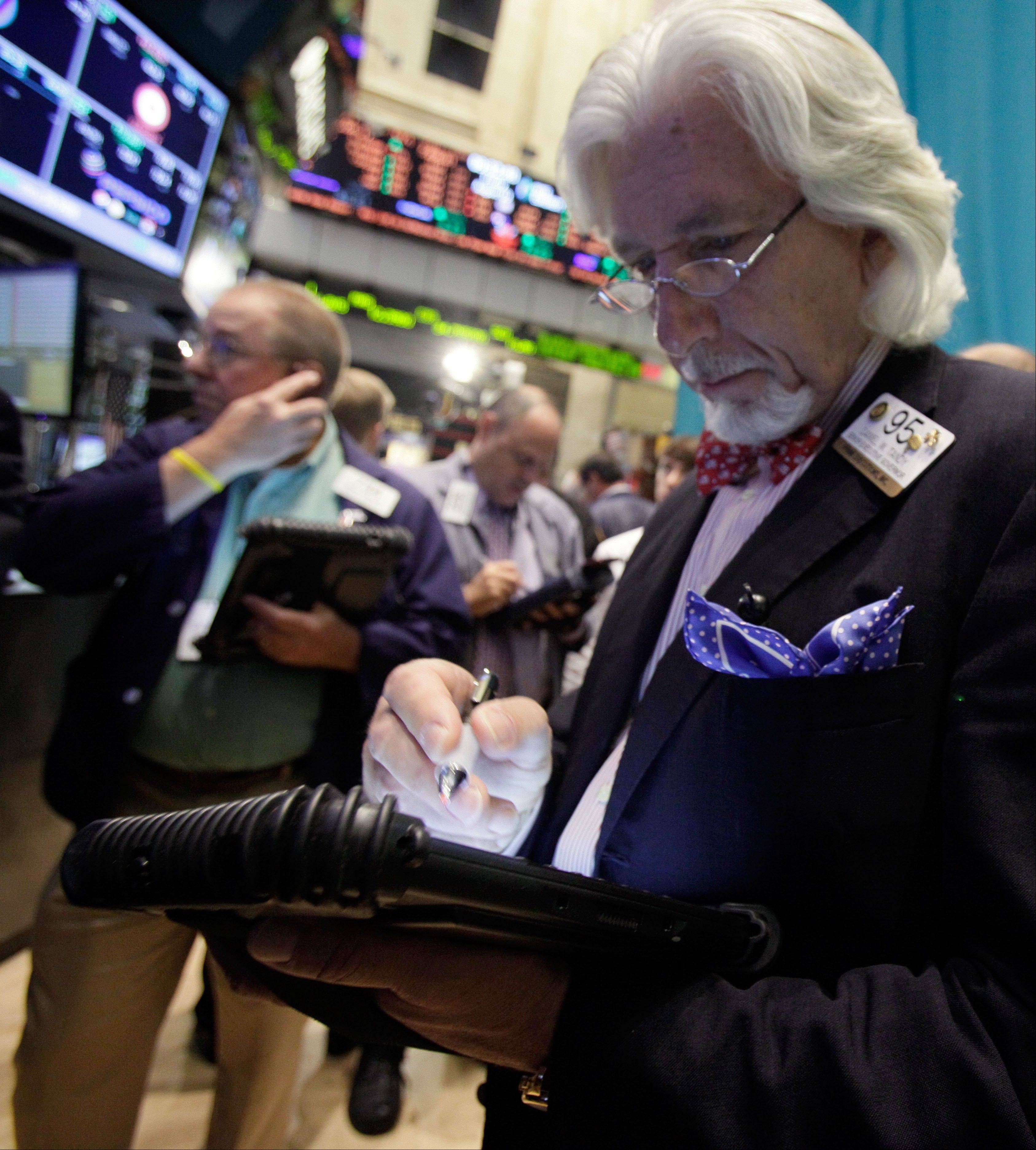 U.S. stocks fell, following yesterday's drop in the Standard & Poor's 500 Index, as investors watched economic reports ahead of Federal Reserve Chairman Ben S. Bernanke's speech on the economy in three days.