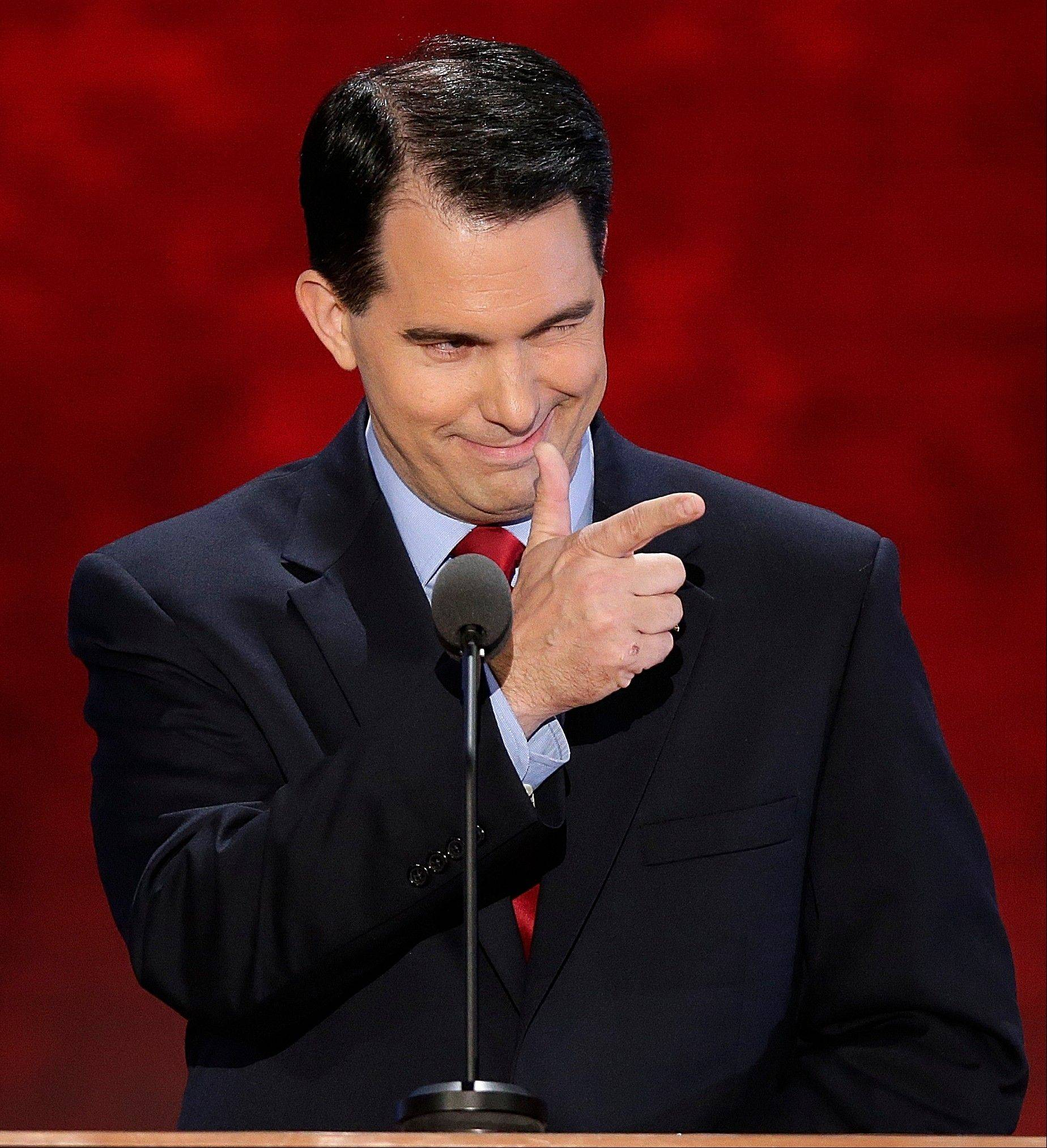 Wisconsin Gov. Scott Walker Tuesday addresses the Republican National Convention in Tampa, Fla.