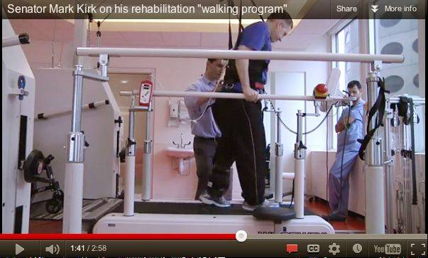 A video screen shot of Mark Kirk during a rehab session at the Rehabilitation Institute of Chicago.