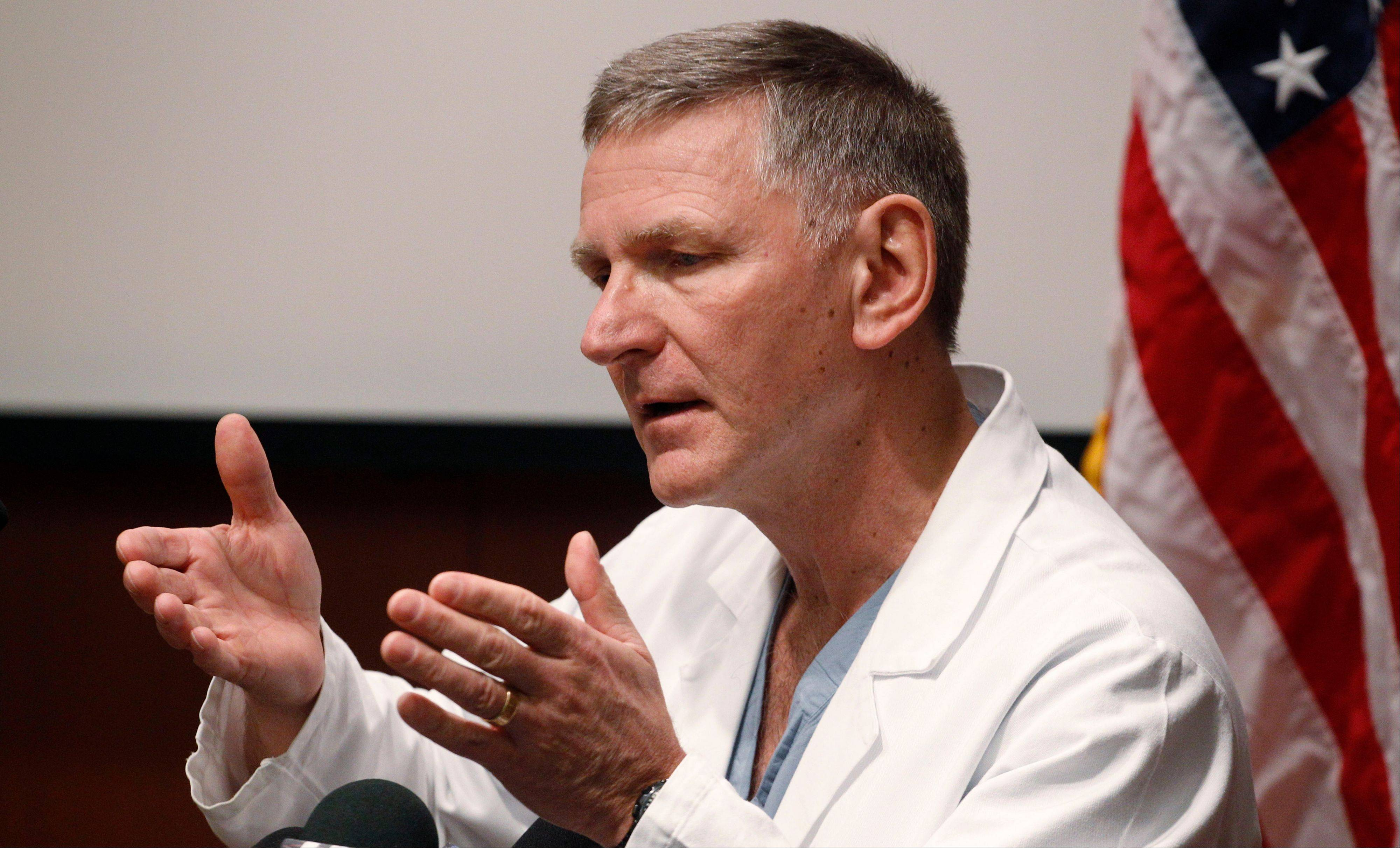 Richard Fessler, a neurosurgeon at Northwestern Memorial Hospital who performed surgery on U.S. Sen. Mark Kirk after he suffered a stroke, answers questions about the senator's conditions at a news conference Jan. 23.