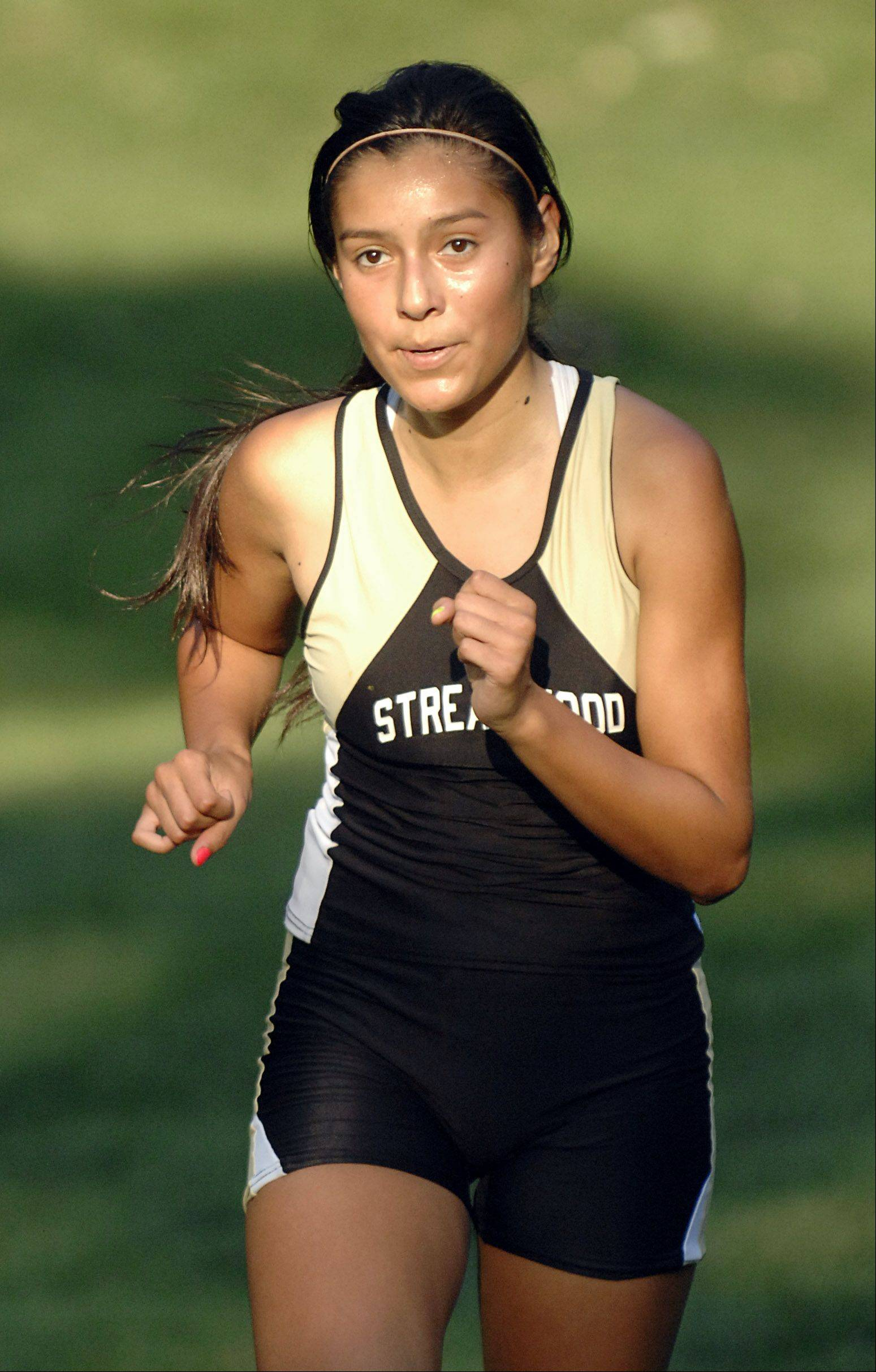 Streamwood's Gabby Juarez finishes first for Streamwood in the Elgin City Classic at Lords Park on Thursday.