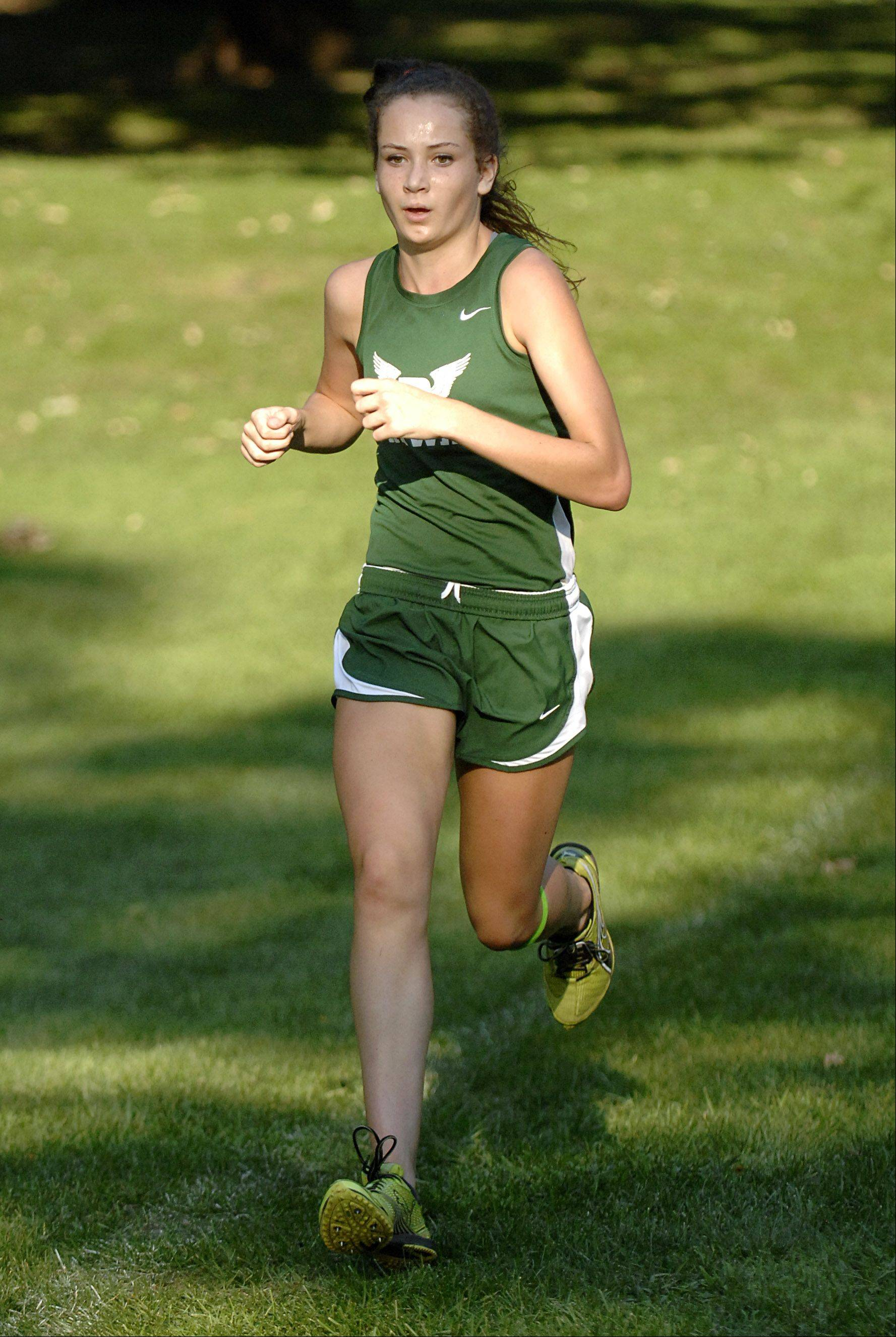 Bartlett's Nicole Watkins takes the win in the girls varsity Elgin City Classic at Lords Park on Thursday.