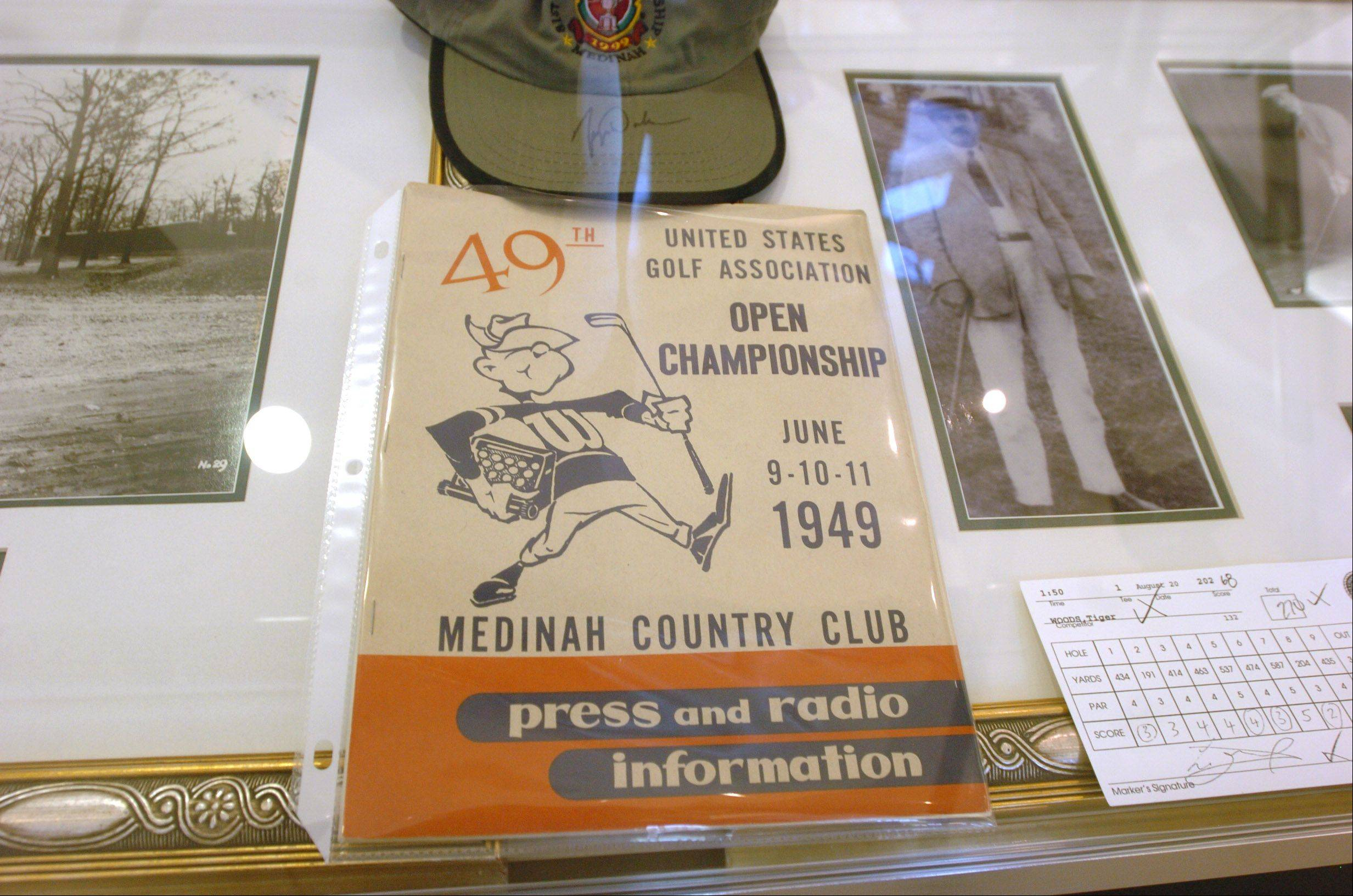 This Medinah Country Club program from 1949 is among vintage golf items on display,