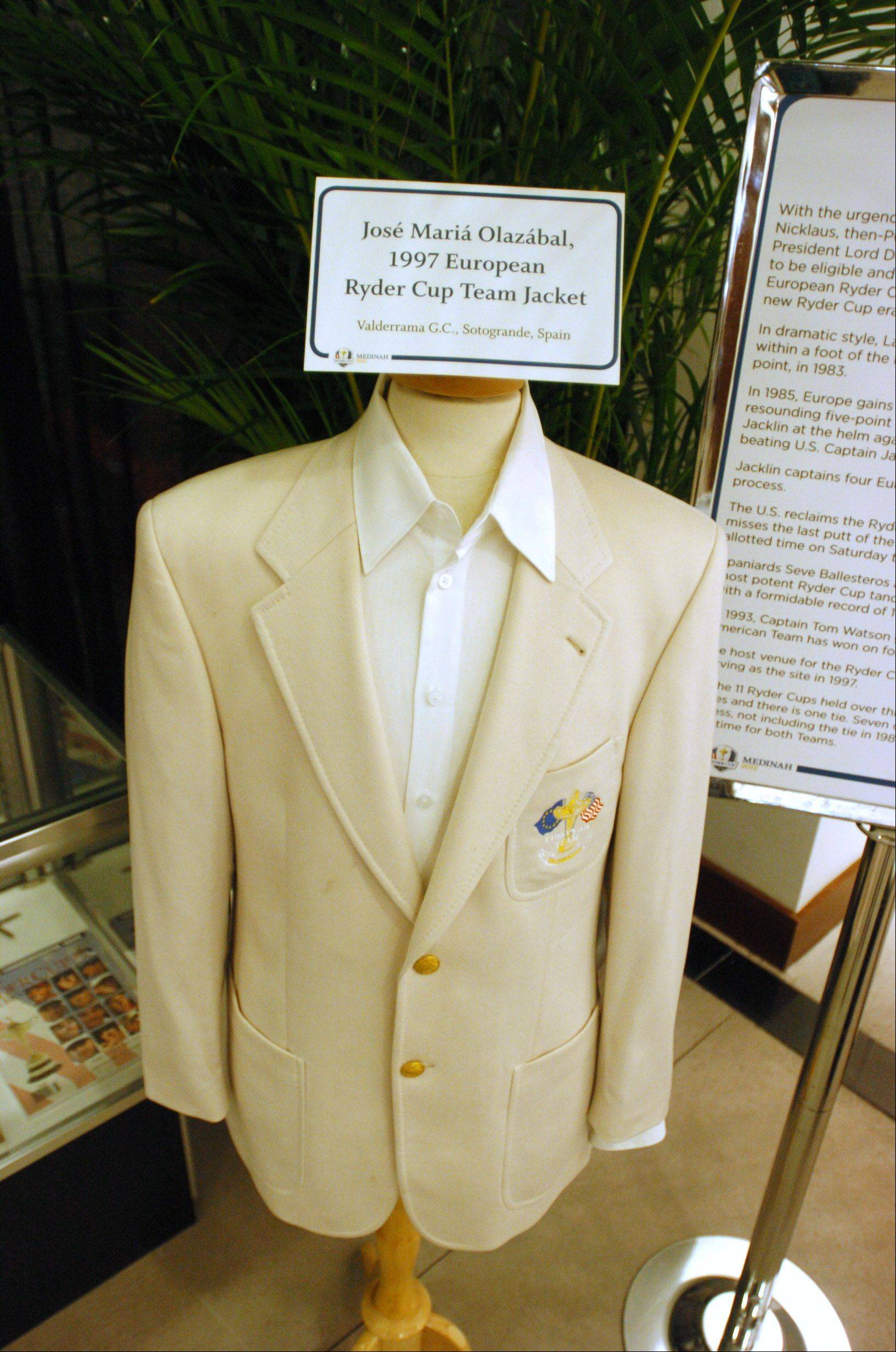 The Jose Maria Olazabal 1997 Ryder Cup Team Jacket is one of the many item s on display.