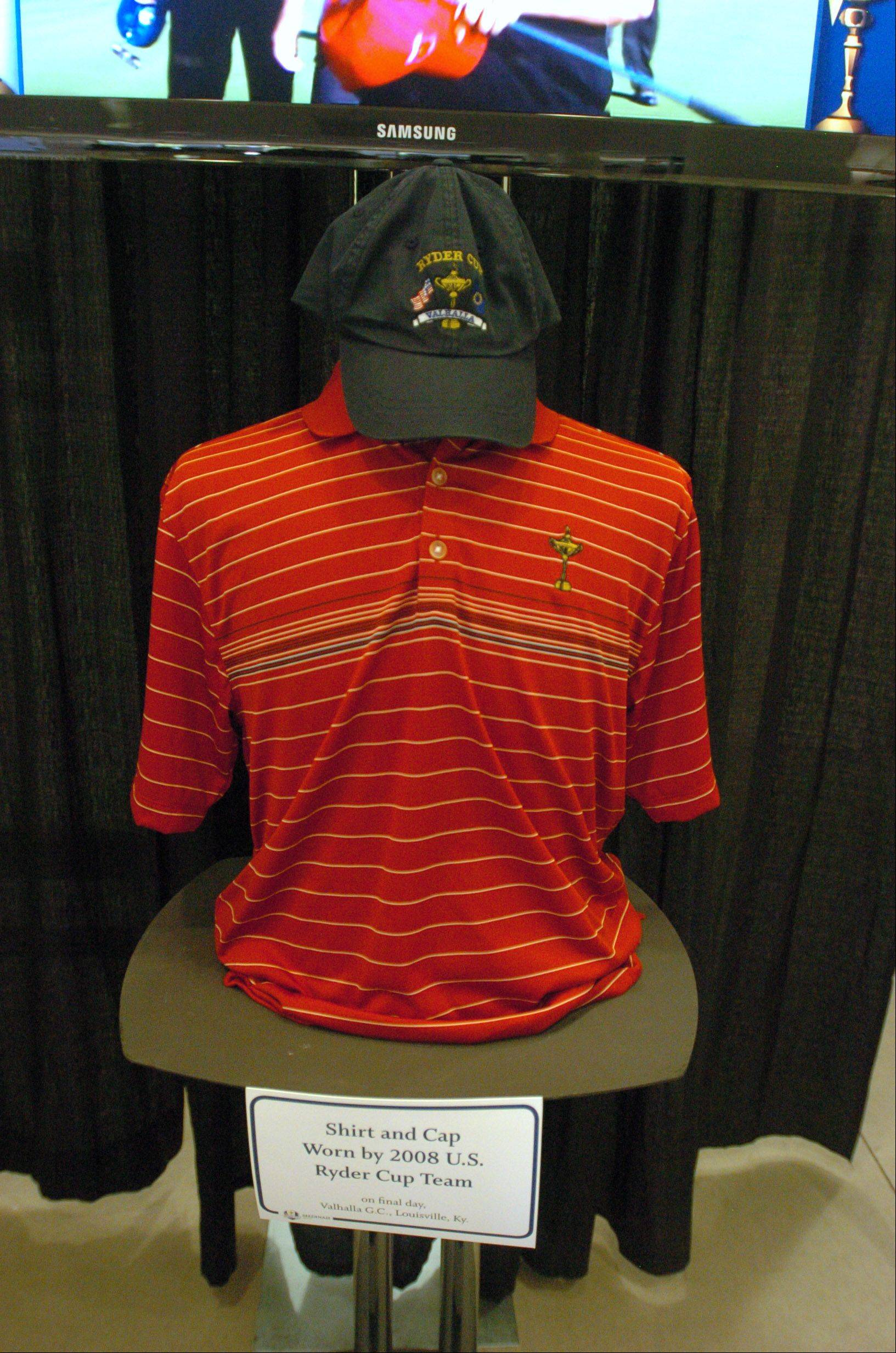 The shirt and cap worn by the 2008 U.S. Ryder Cup team was one of the many items on display.