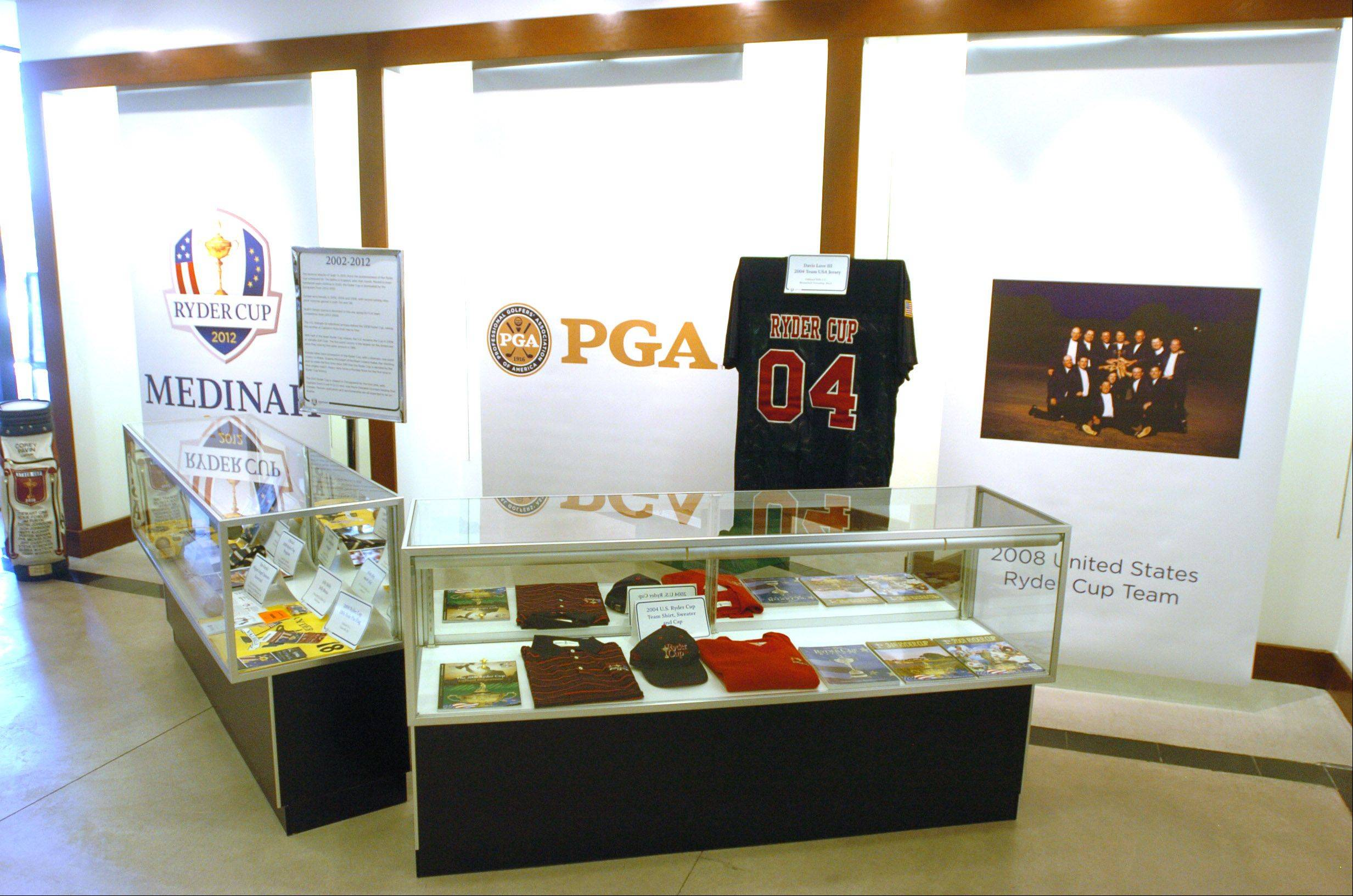 These items on display at the Ryder Cup Exhibit at Oakbrook Center are just part of the 4,000-square-foot historical display. The exhibit is open to the public and free of charge through Sept. 30.