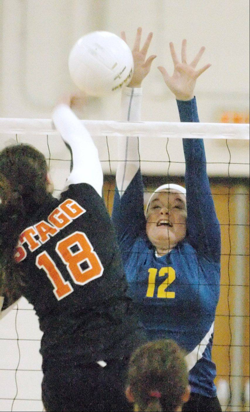 Wheaton North's Kelly Dorn goes up for a block during the Wheaton North girls volleyball tournament Wednesday.