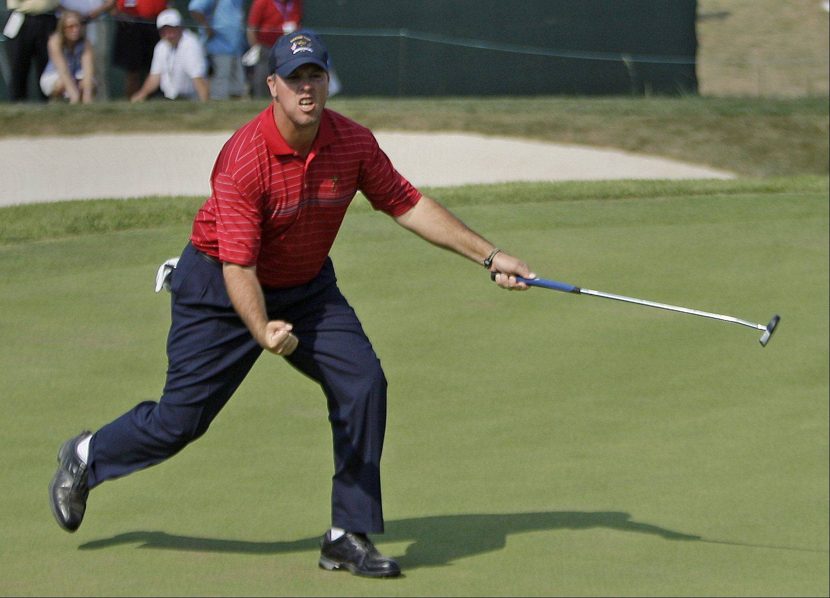 USA's Boo Weekley reacts after sinking a putt on the ninth hole during the final round of the Ryder Cup golf tournament at the Valhalla Golf Club, in Louisville, Ky., Sunday, Sept. 21, 2008. The colorful rookie character Weekley fueled an American victory.