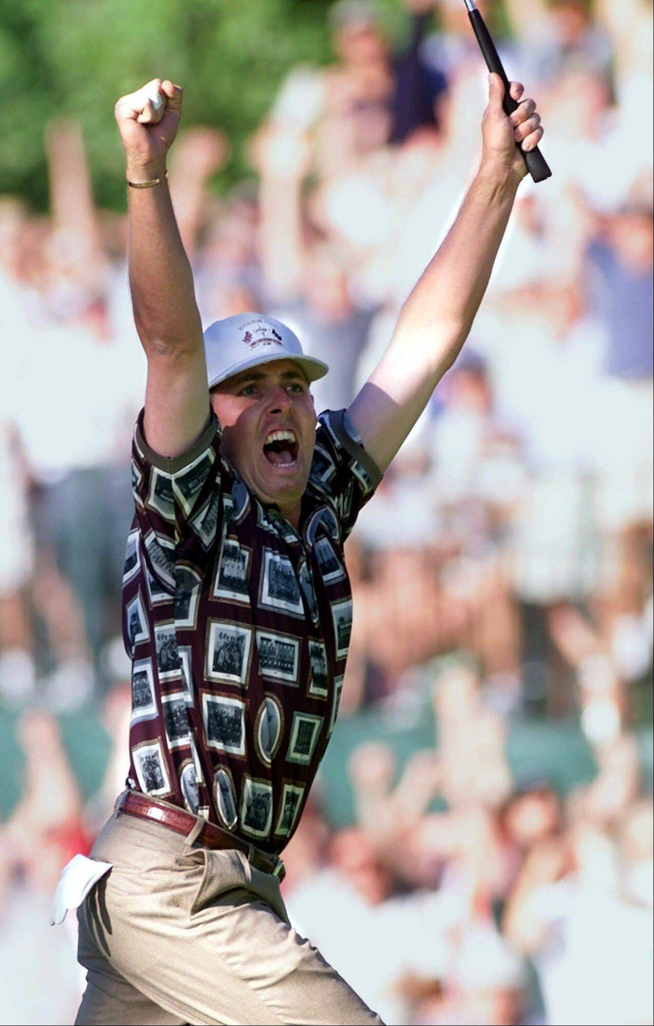 U.S. Ryder Cup player Justin Leonard celebrates after sinking his putt on the 17th hole of his final round match Sunday, Sept. 26, 1999 in Brookline, Mass. Leonard won the hole clinching the Ryder Cup for the U.S. The Americans were criticized for excessive celebration in reaction of their 1999 victory.