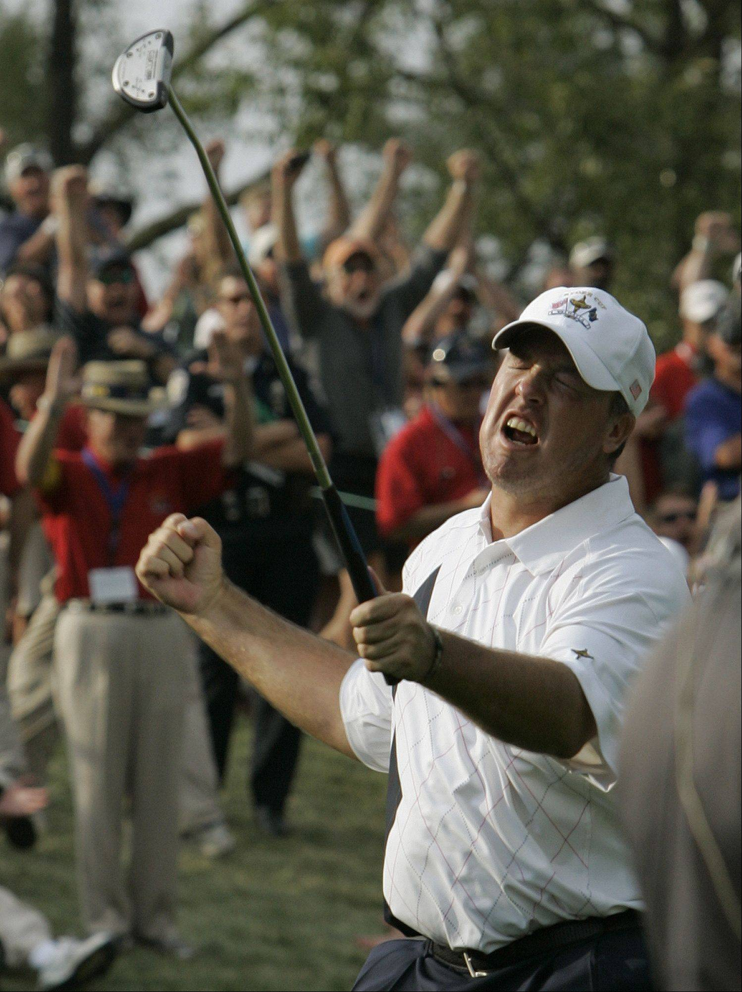 USA's Boo Weekley reacts after his birdie putt on the 12th hole during his four-ball match at the Ryder Cup golf tournament at the Valhalla Golf Club, in Louisville, Ky., Friday, Sept. 19, 2008. The colorful rookie character Weekley fueled an American victory.