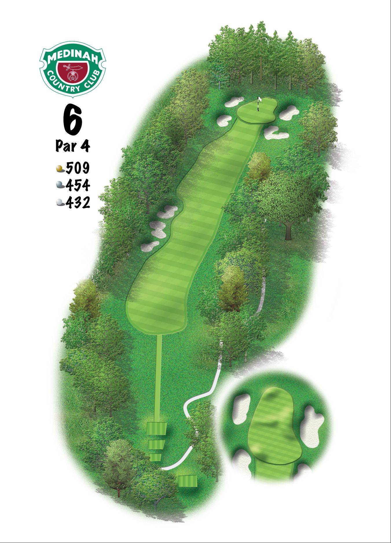 Hole 6 of the Ryder Cup course at Medinah. 509 yards/465 meters, Par-4 This is one of Medinah's truly great par-4's. With the addition of a new back tee, the length requires a driver shaping from left-to-right off the three fairway bunkers. Left side of the fairway will still leave most a mid- to long-iron into a sloped and well-bunkered green.