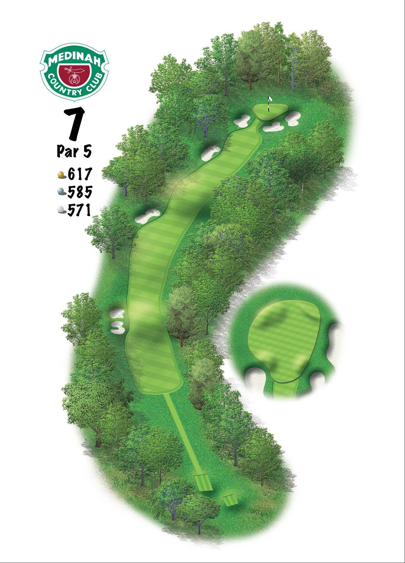 Hole 7 of the Ryder Cup course at Medinah. 617 yards/564 meters, Par-5, Another Medinah Classic, the seventh is the longest par-5 on the course, as well as the membership's No. 1 handicap hole. Do not miss the green or fall into the steep greenside bunkers.