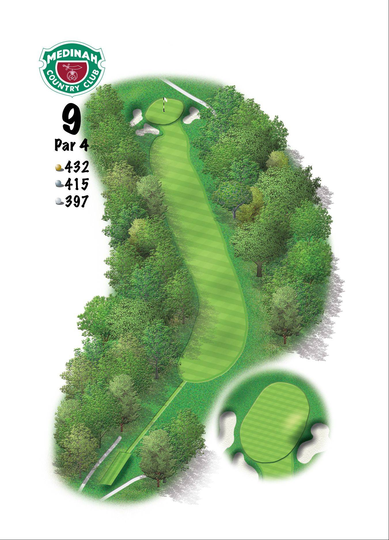 Hole 9 of the Ryder Cup course at Medinah. 432 yards/395 meters, Par-4, This hole offers a great dogleg left that presents somewhat of a blind shot off the tee, and in today's game it will require a 3-wood, or hybrid. Hugging the right side here will leave you an uphill look at a well-bunkered green that breaks fast from right-to-left. Take your par here, and run to the 10th tee.
