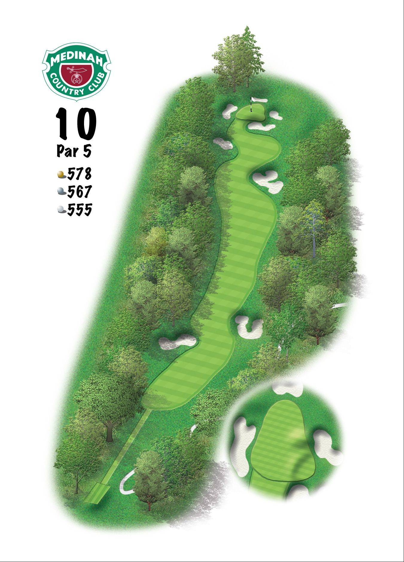 Hole 10 of the Ryder Cup course at Medinah. 578 yards/529 meters, Par-5, A thinking man's par-5 that can be reached in two, this hole demands that both be great shots. Club choice might include 3-wood to take the bunkers out of play, and then hitting a hybrid or long iron to a conservative lay-up will make the third shot a little easier.