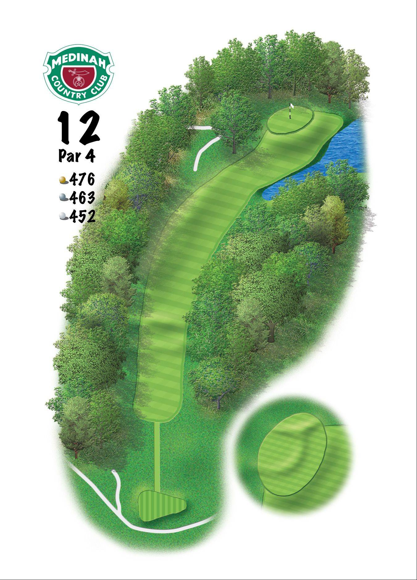 Hole 12 of the Ryder Cup course at Medinah. 476 yards/435 meters, Par-4, This gem just may be the best par-4 on the property. A generous driving area benefits the player staying to the right side for a better angle to approach the green. A big oak guards the green on the left side that the membership has hit 95,345 times over the years.