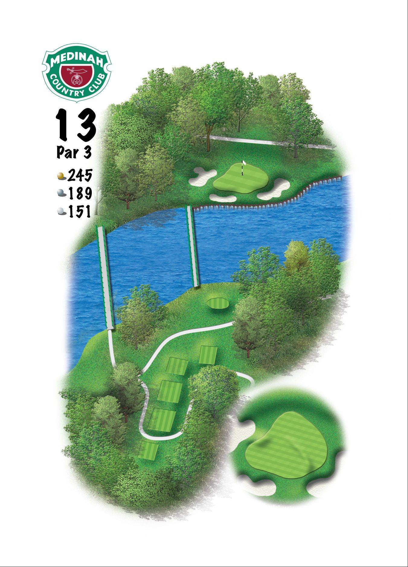 Hole 13 of the Ryder Cup course at Medinah. 245 yards/223 meters, Par-3, Known over the years as Medinah's signature hole, the green on No. 13 is now guarded by three bunkers, and slopes from right-to-left. The club choice will be the challenge as players contend with the winds off Lake Kadijah.