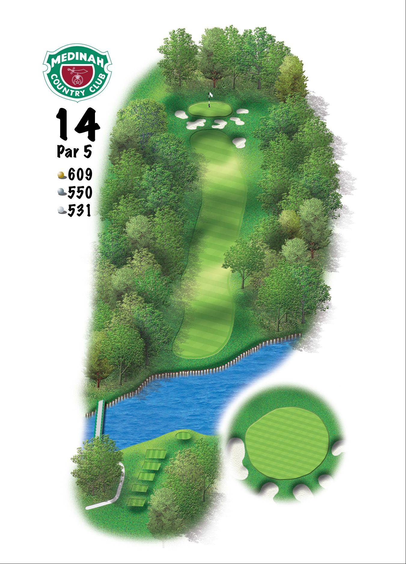 Hole 14 of the Ryder Cup course at Medinah. 609 yards/557 meters, Par-5, The longer players have the advantage here if they can get the ball to the top of the hill. From there they will have a long iron or fairway metal into a green that is well guarded by bunkers and slopes significantly from back-to-front. It is hard to get the ball close on the third shot because of the slope in the green.