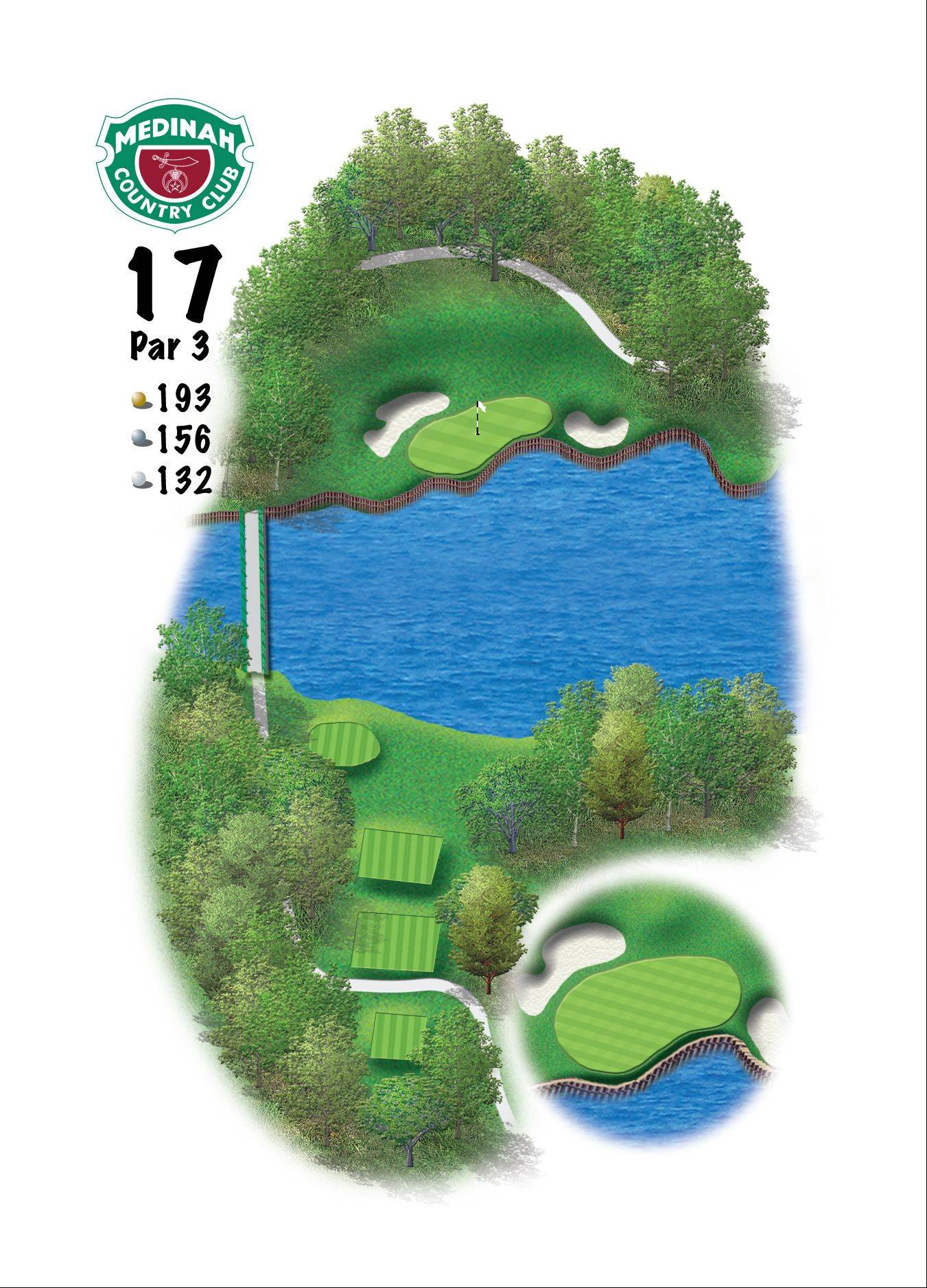 Hole 17 of the Ryder Cup course at Medinah. 193 yards/176 meters, Par-3, The key here will be the wind off Lake Kadijah, and the nerves of trying to win a match to capture the 39th Ryder Cup. Hitting this relatively flat green will be the key. Being long or left will make getting up and down quite difficult.