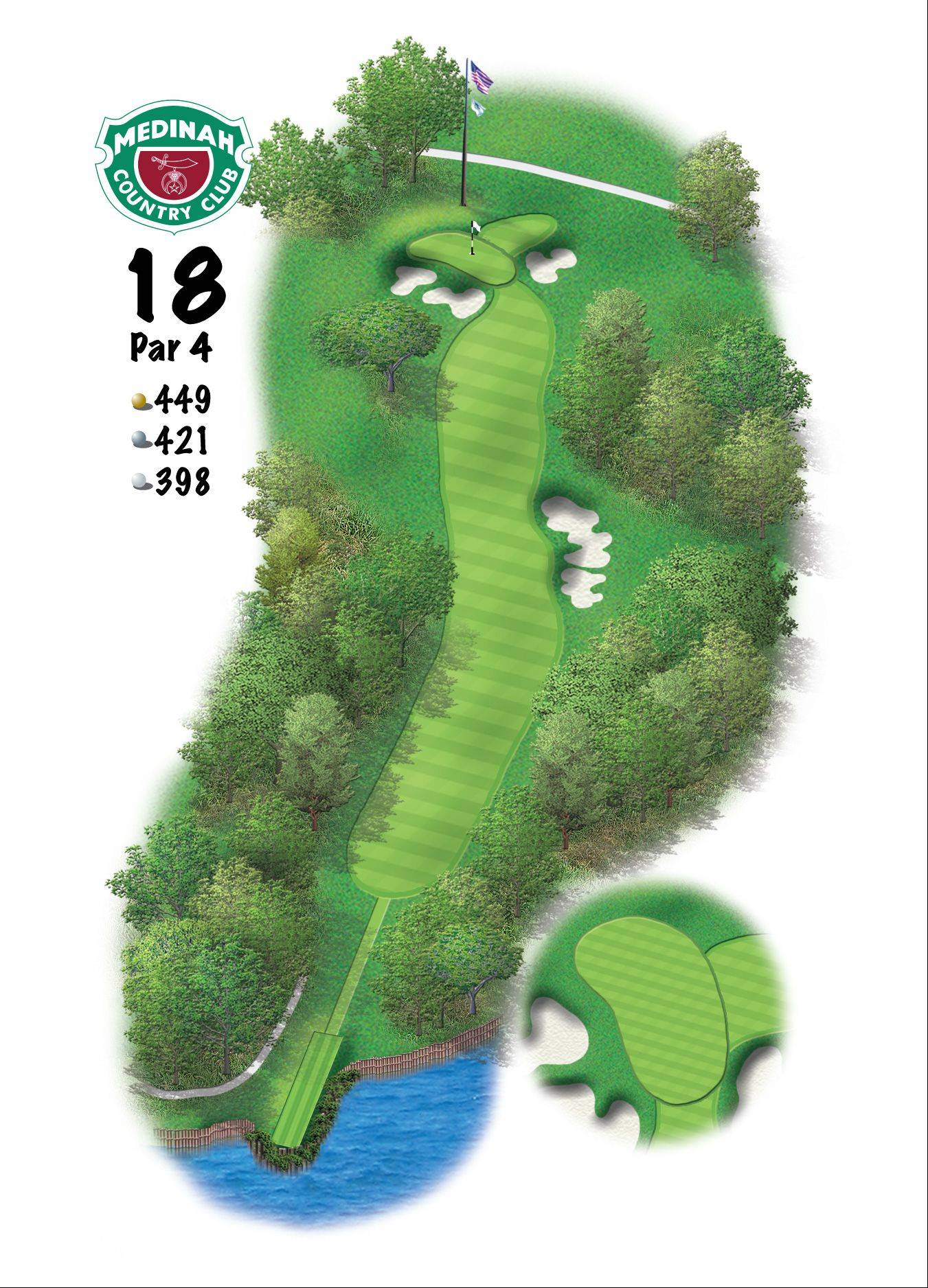 Hole 18 of the Ryder Cup course at Medinah. 449 yards/411 meters, Par-4, This finishing hole was no easy bargain during the 2006 PGA Championship.Off the tee, Rees Jones added a group of bunkers to work the ball from right-to-left. On the approach, the green has been raised in the air almost one story high, and is flanked by some steep bunkers. The green, itself, is pitched from back-to-front, with a collection area in the back-right, with up and down to a back-right hole location almost impossible.