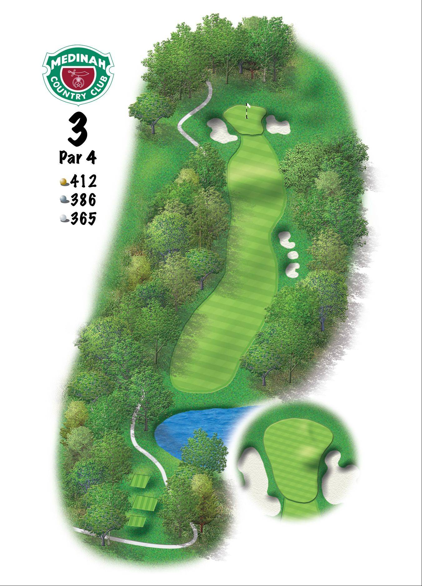 Hole 3 of the Ryder Cup course at Medinah. 412 yards/377 meters, Par-4, From the tee, the players will see the Rees Jones bunkers down the right side that should be the target to work the ball right-to-left. They will have to try to stay to the right side to avoid the overhanging Medinah trees.