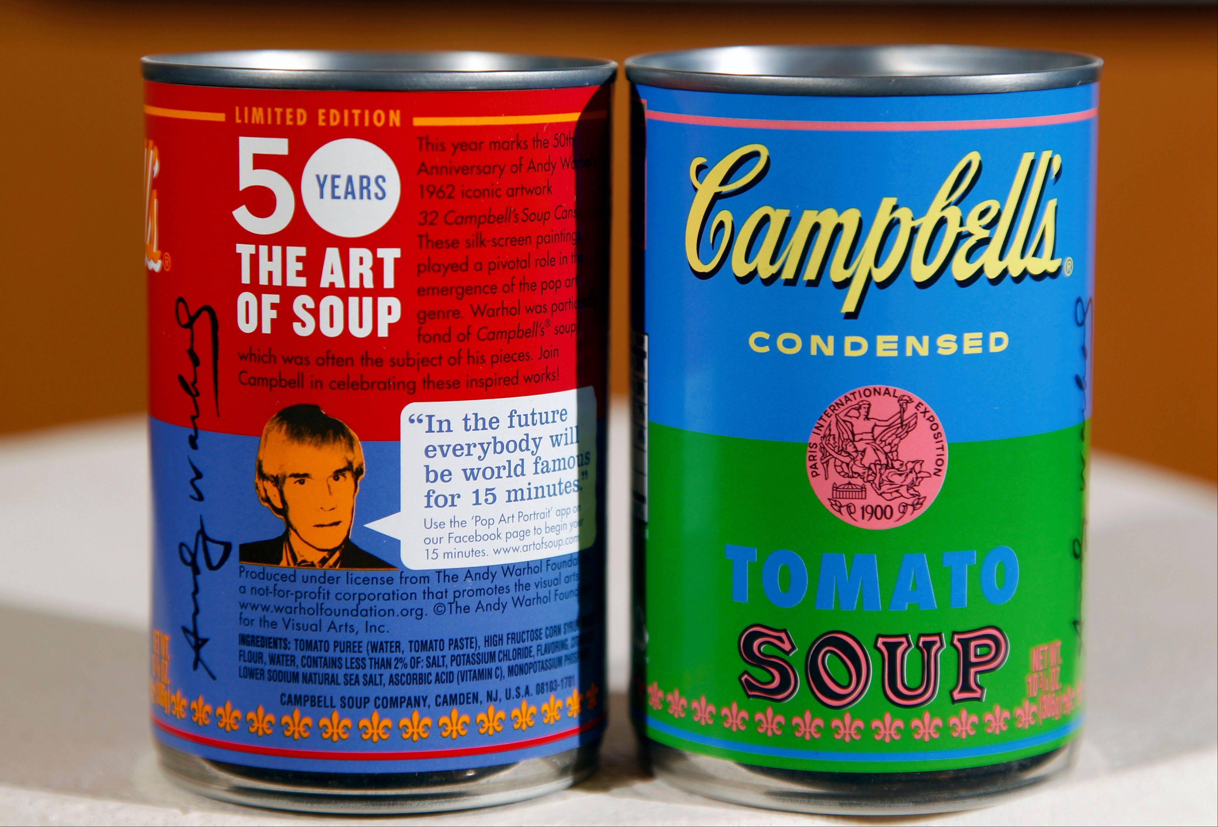 New limited edition Campbell's tomato soup cans with art and sayings by artist Andy Warhol are seen at Campbell Soup Company in Camden, N.J. Campbell plans to introduce the special-edition cans of its condensed tomato soup bearing labels reminiscent of the pop artist's paintings at Target stores starting Sunday, Sept. 2, 2012.