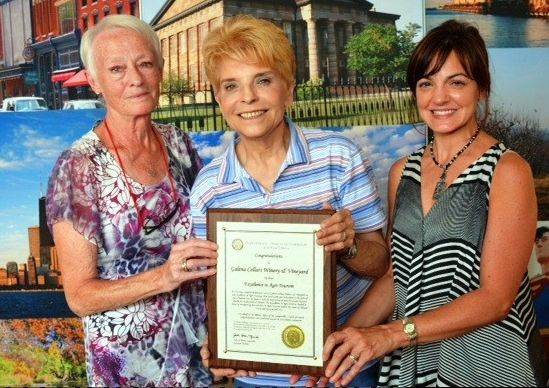 State Comptroller Judy Baar Topinka, center, thanked Lynfred Winery's Valerie Koehler, left, and Diane Koehler-Rasmussen for the Roselle winery's contribution to Illinois agri-tourism.