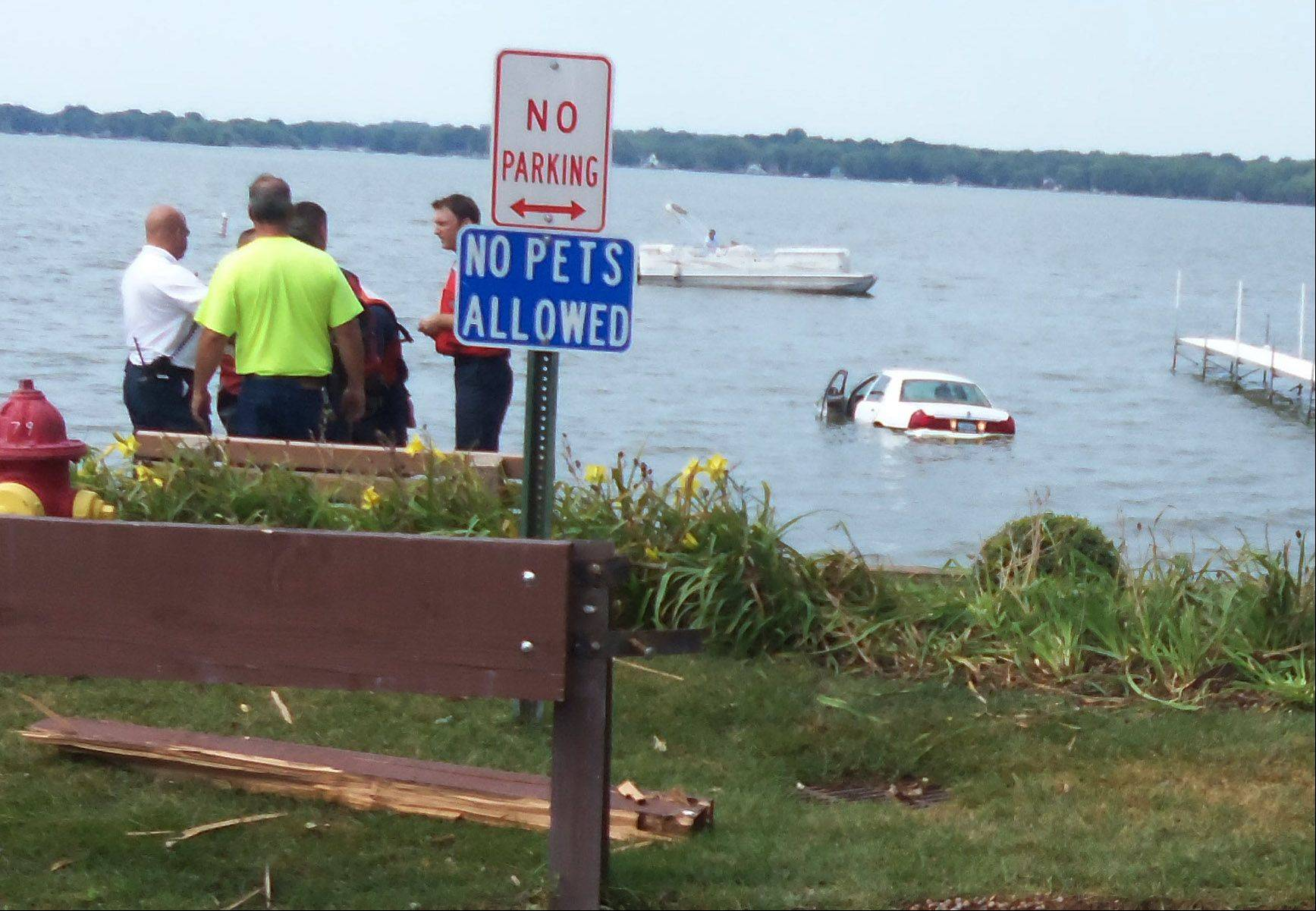 A 77-year-old Ingleside woman was ticketed but escaped injury after she drove her vehicle off the end of Grand Avenue into Pistakee Lake.