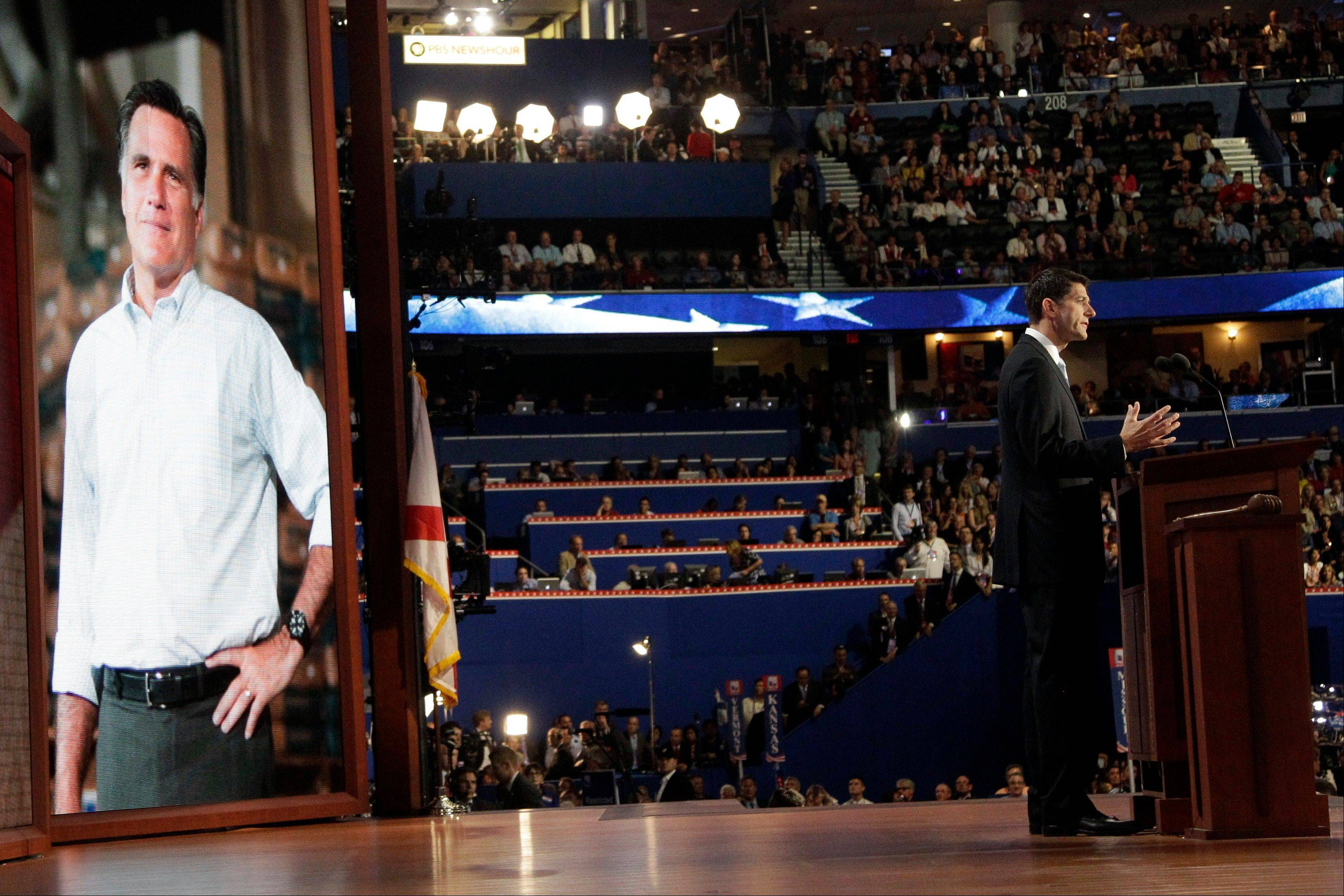 Republican vice presidential candidate, Rep. Paul†Ryan, addresses the Republican National Convention Wednesday night in Tampa, Fla..