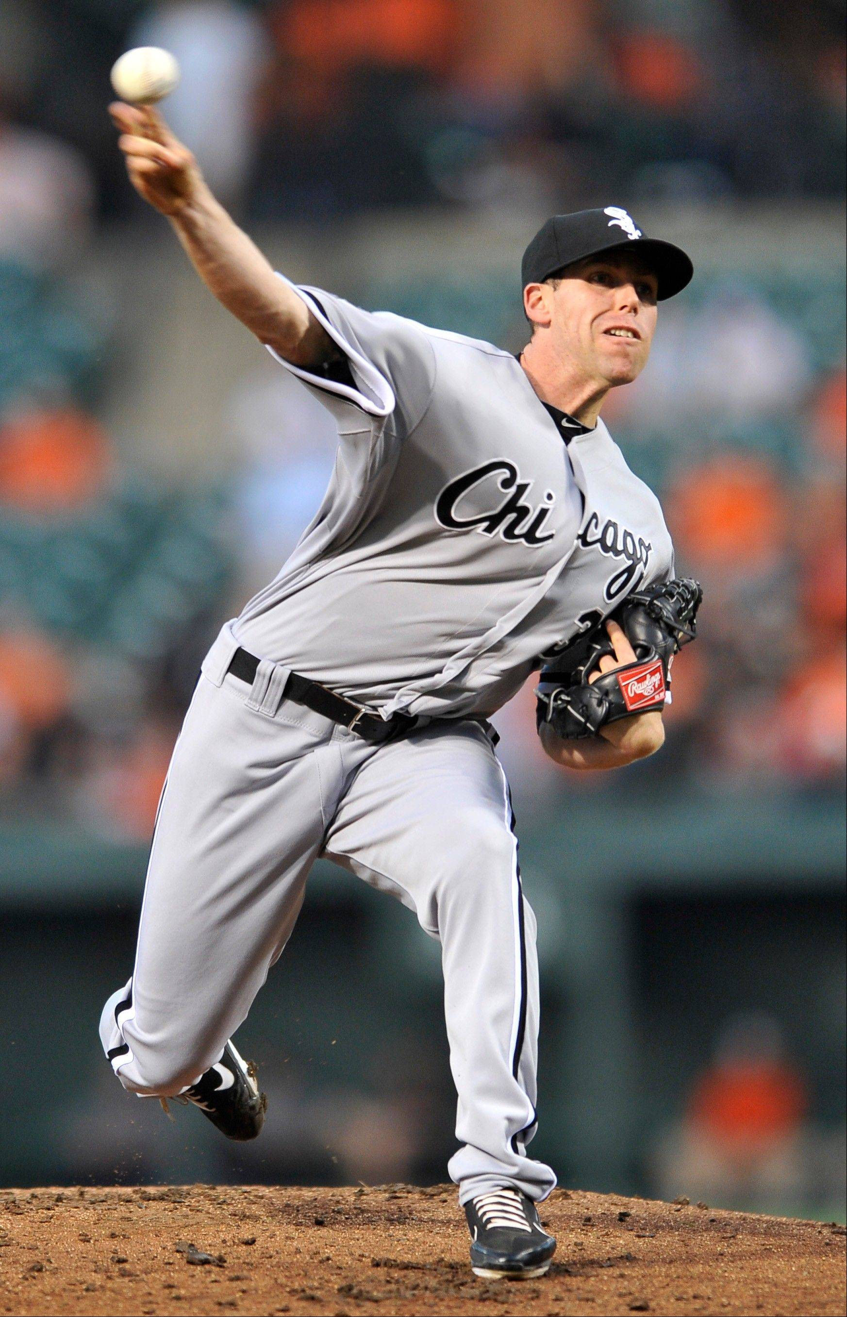 Chicago White Sox pitcher Dylan Axelrod delivers against the Baltimore Orioles in the first inning of a baseball game on Wednesday in Baltimore.