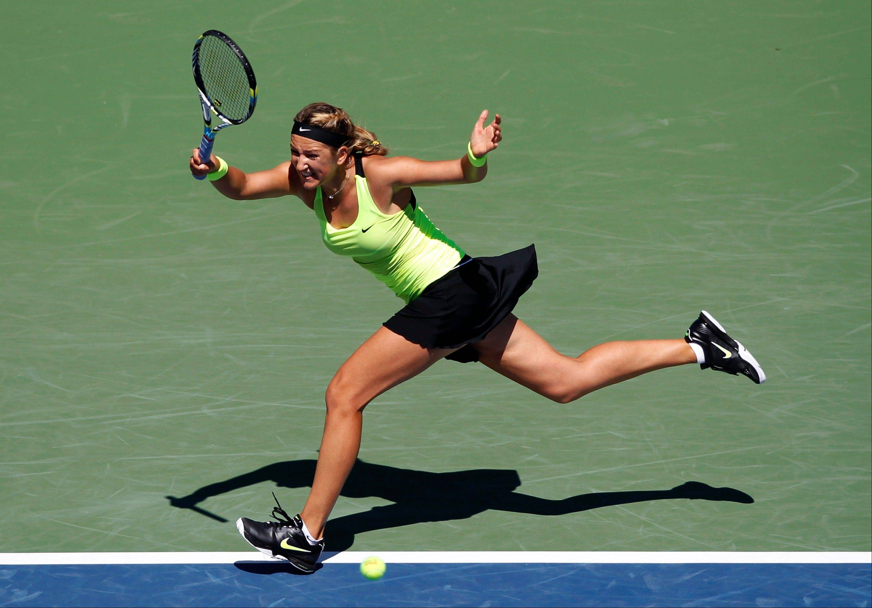 Victoria Azarenka beat qualifier Kirsten Flipkens 6-2, 6-2 in 65 minutes in the second round Wednesday.