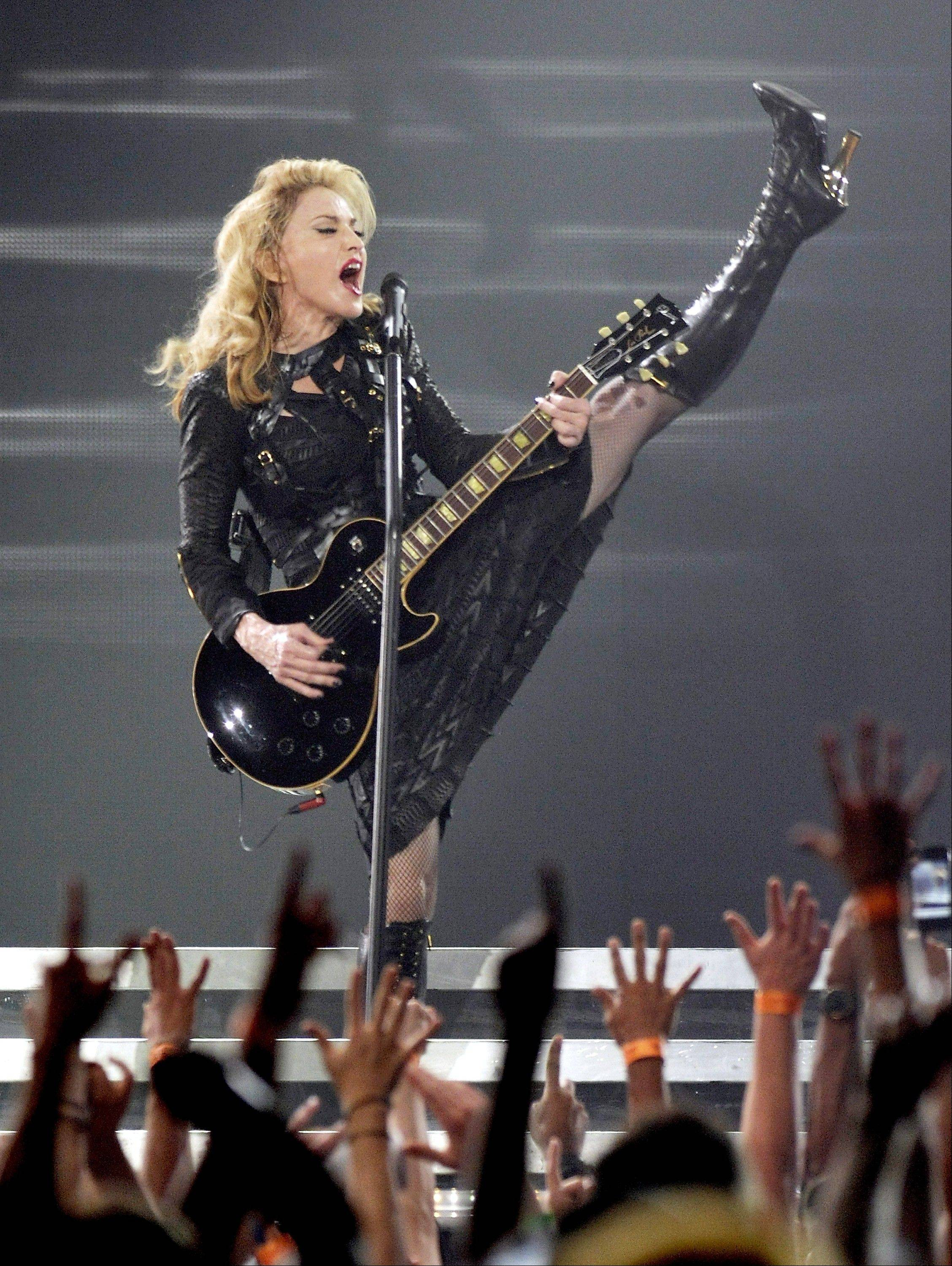 Singer Madonna performs at the Wells Fargo Center Tuesday in Philadelphia.