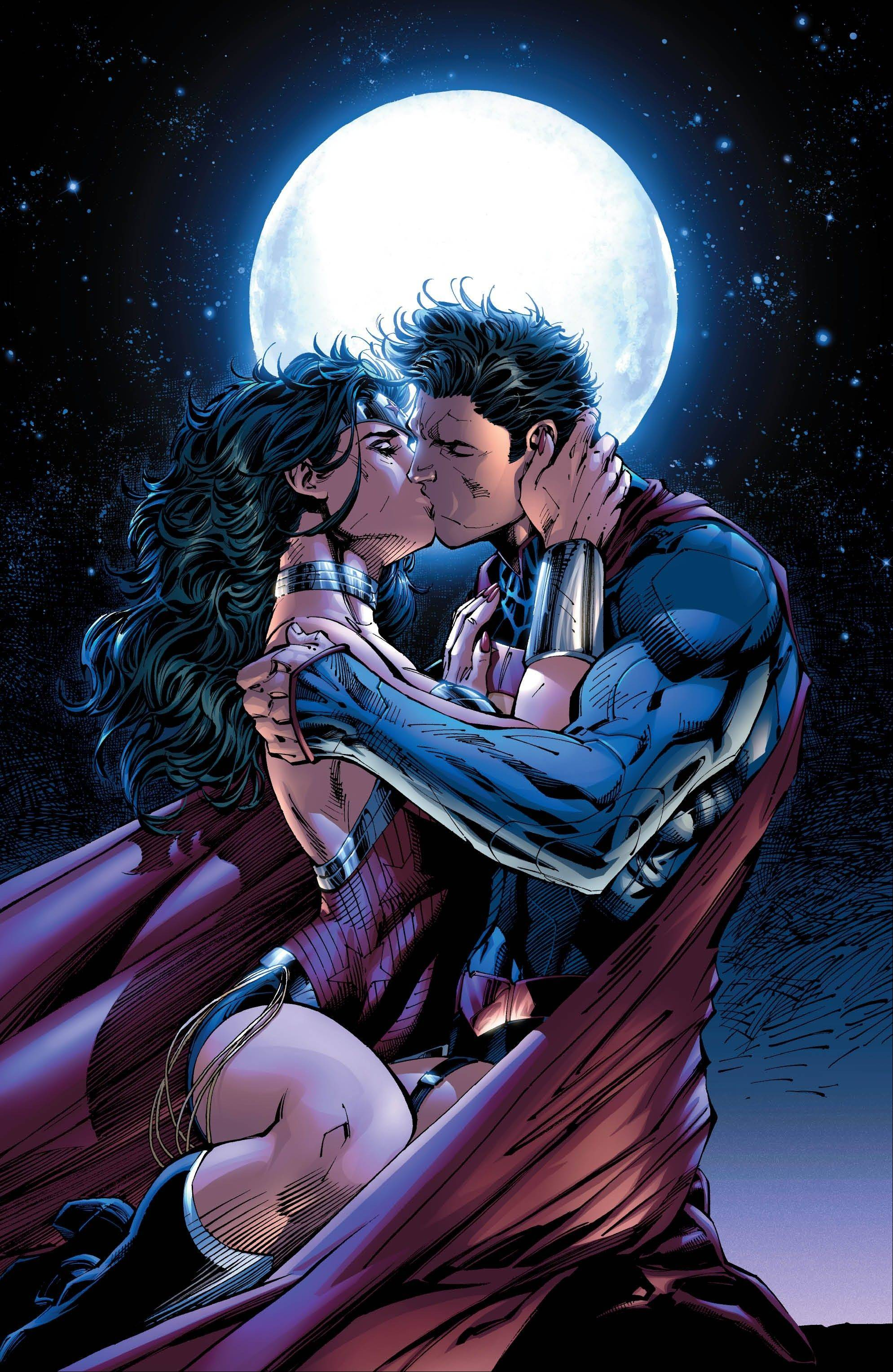 "This comic book image released by DC Entertainment shows Wonder Woman and Superman kissing in the ""Justice League 12"" issue. Wonder Woman and Superman are officially an item, as the pair realize that there's no one out there like them. DC relaunched its stable of heroes with new stories, new costumes and revised origins."