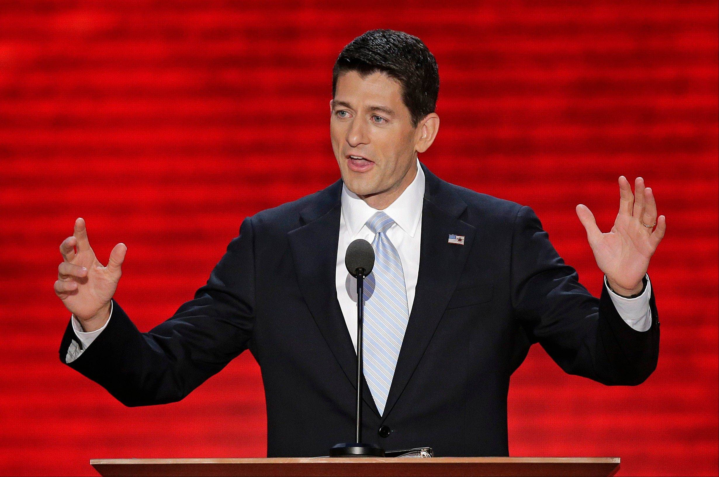 Republican vice presidential nominee, Rep. Paul Ryan addresses the Republican National Convention in Tampa, Fla., on Wednesday, Aug. 29, 2012.