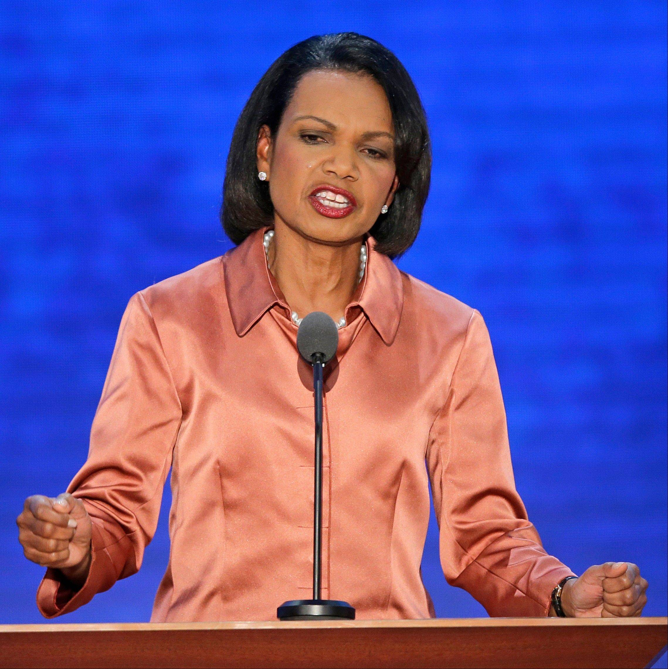 Former Secretary of State Condoleezza Rice addresses the Republican National Convention in Tampa, Fla., on Wednesday, Aug. 29, 2012.