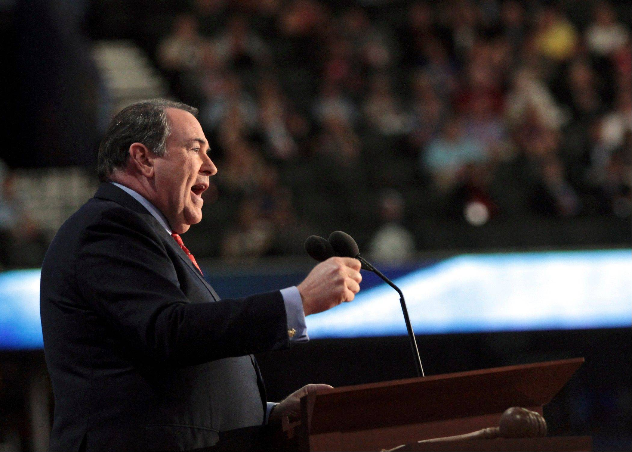 Former governor of Arkansas Mike Huckabee addresses the Republican National Convention in Tampa, Fla., on Wednesday, Aug. 29, 2012.