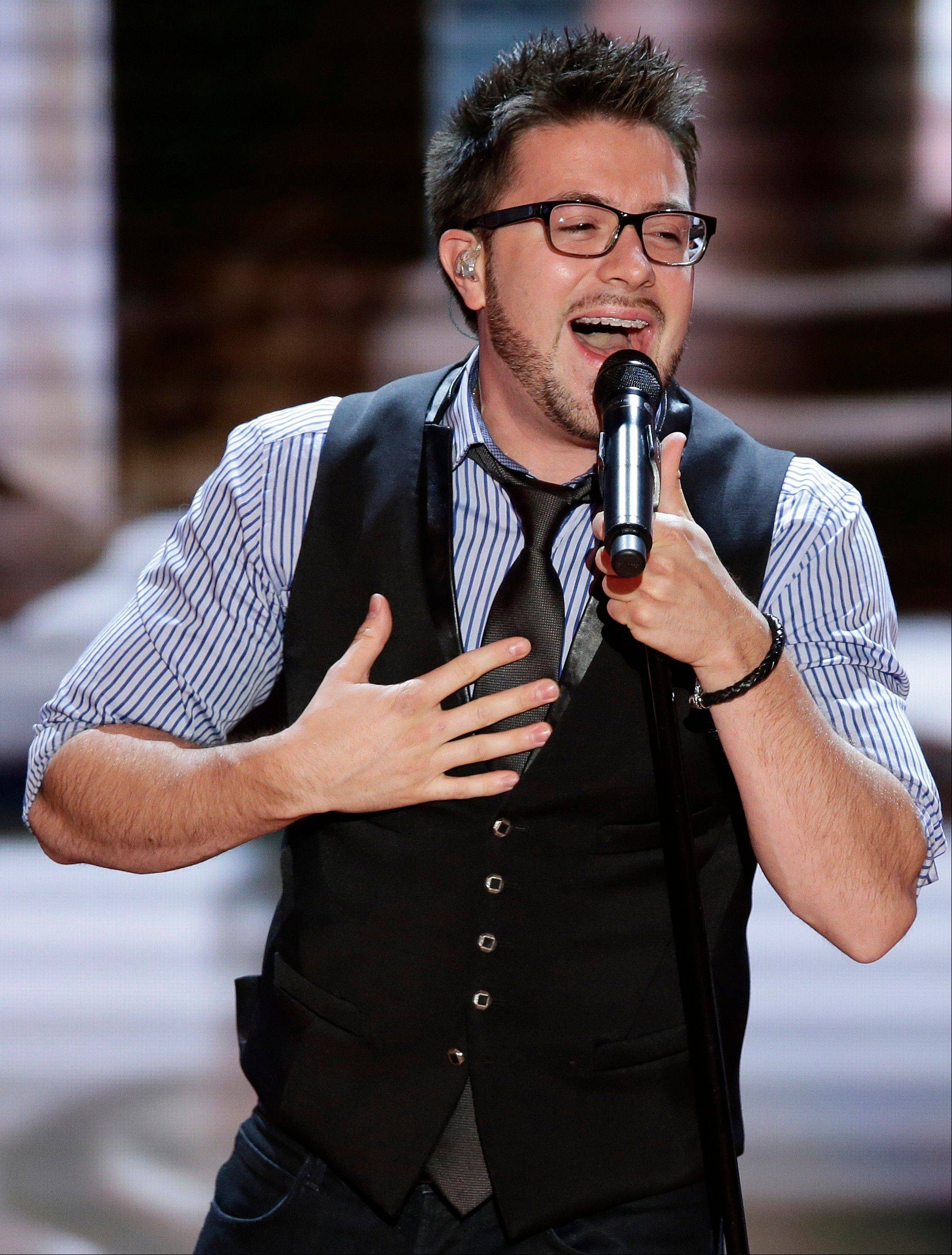 Danny Gokey performs during the Republican National Convention in Tampa, Fla., on Wednesday, Aug. 29, 2012.