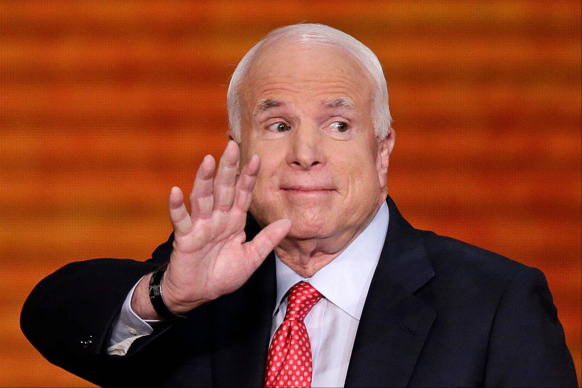 Sen. John McCain, R-Ariz., waves after addressing the Republican National Convention in Tampa, Fla., on Wednesday, Aug. 29, 2012.